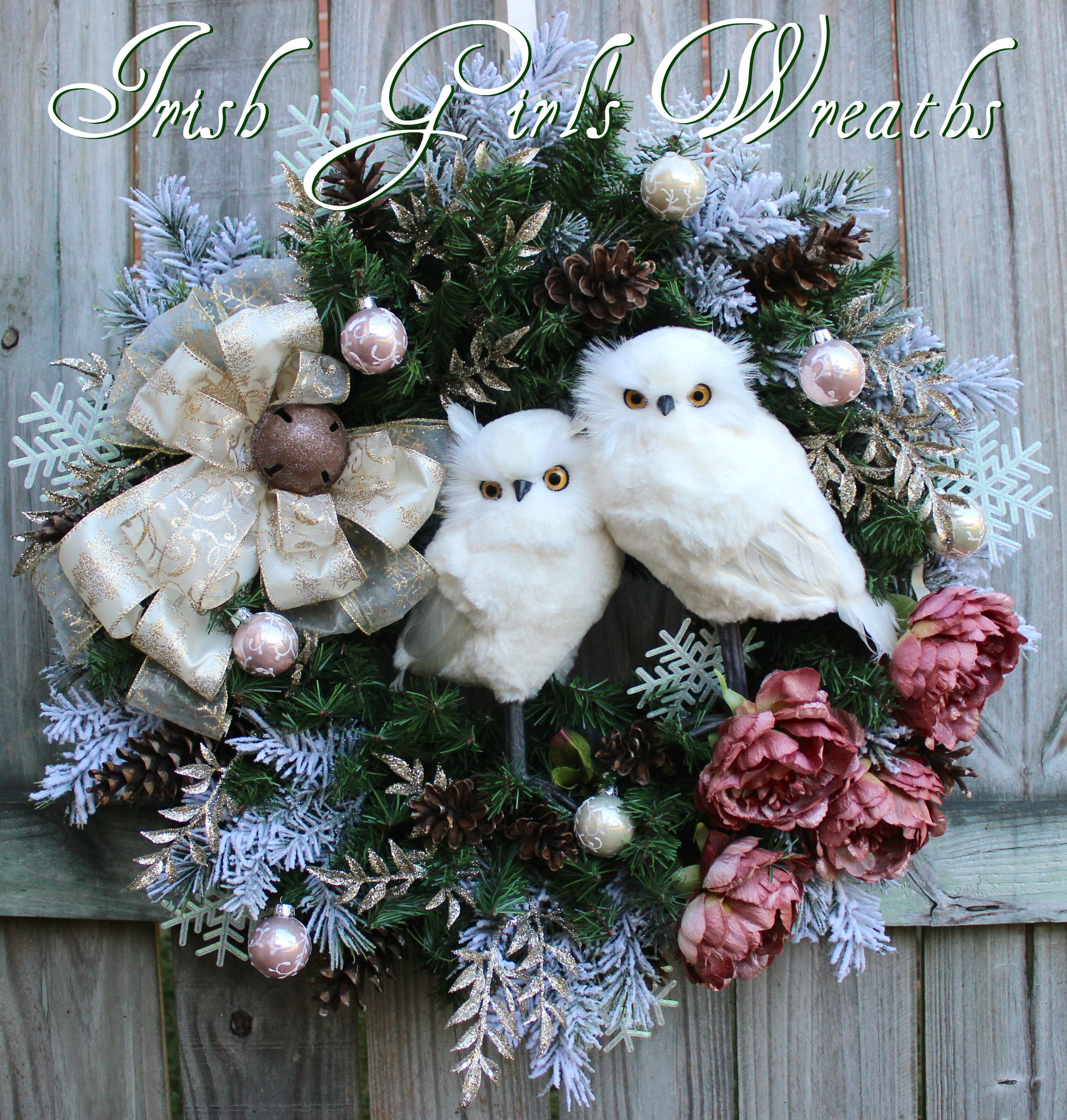 Iced Rose Pink Winter Snow Owl Couple Christmas Wreath