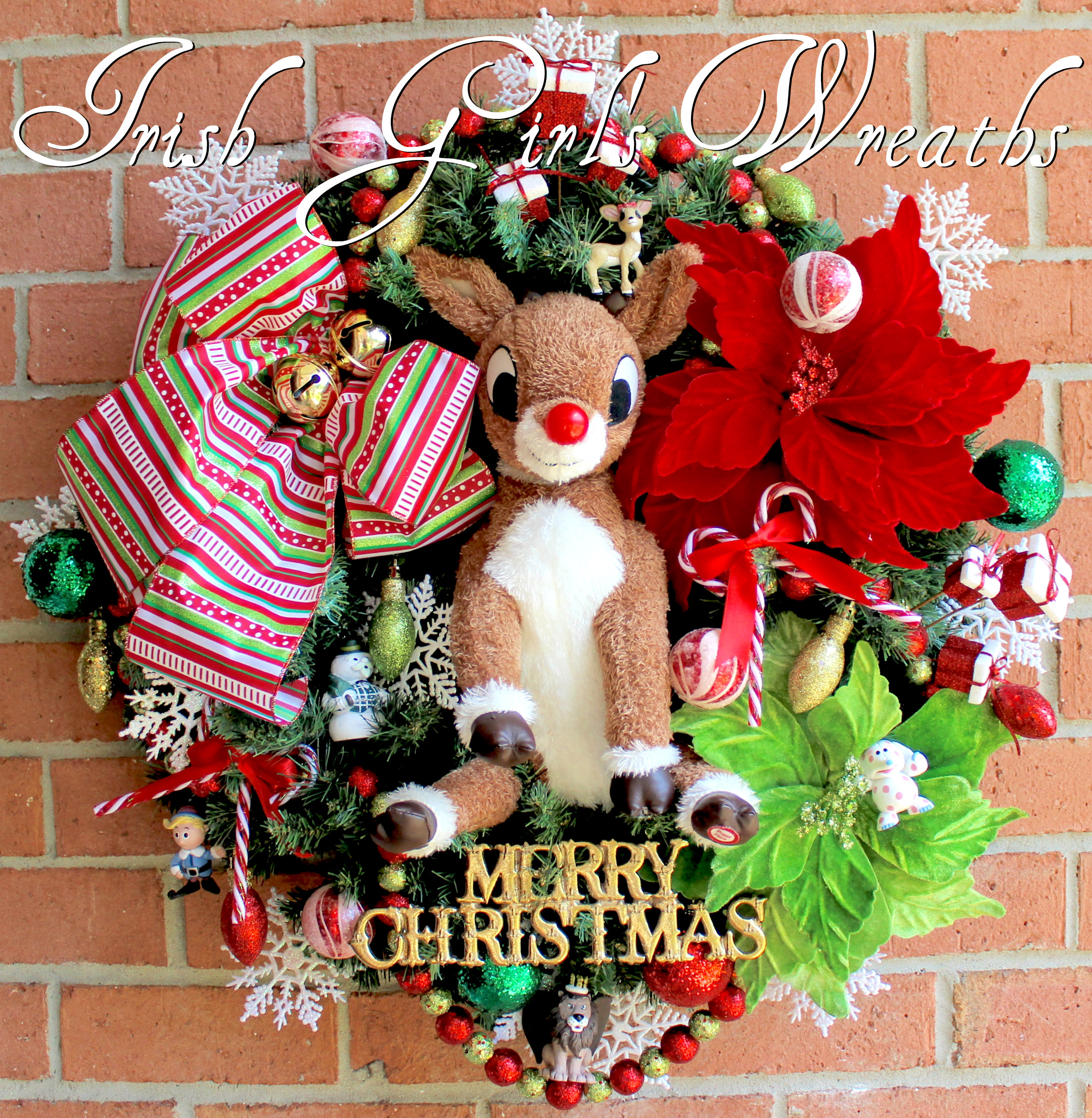 Musical Rudolph the Red-Nosed Reindeer and Misfit Toys Christmas Wreath