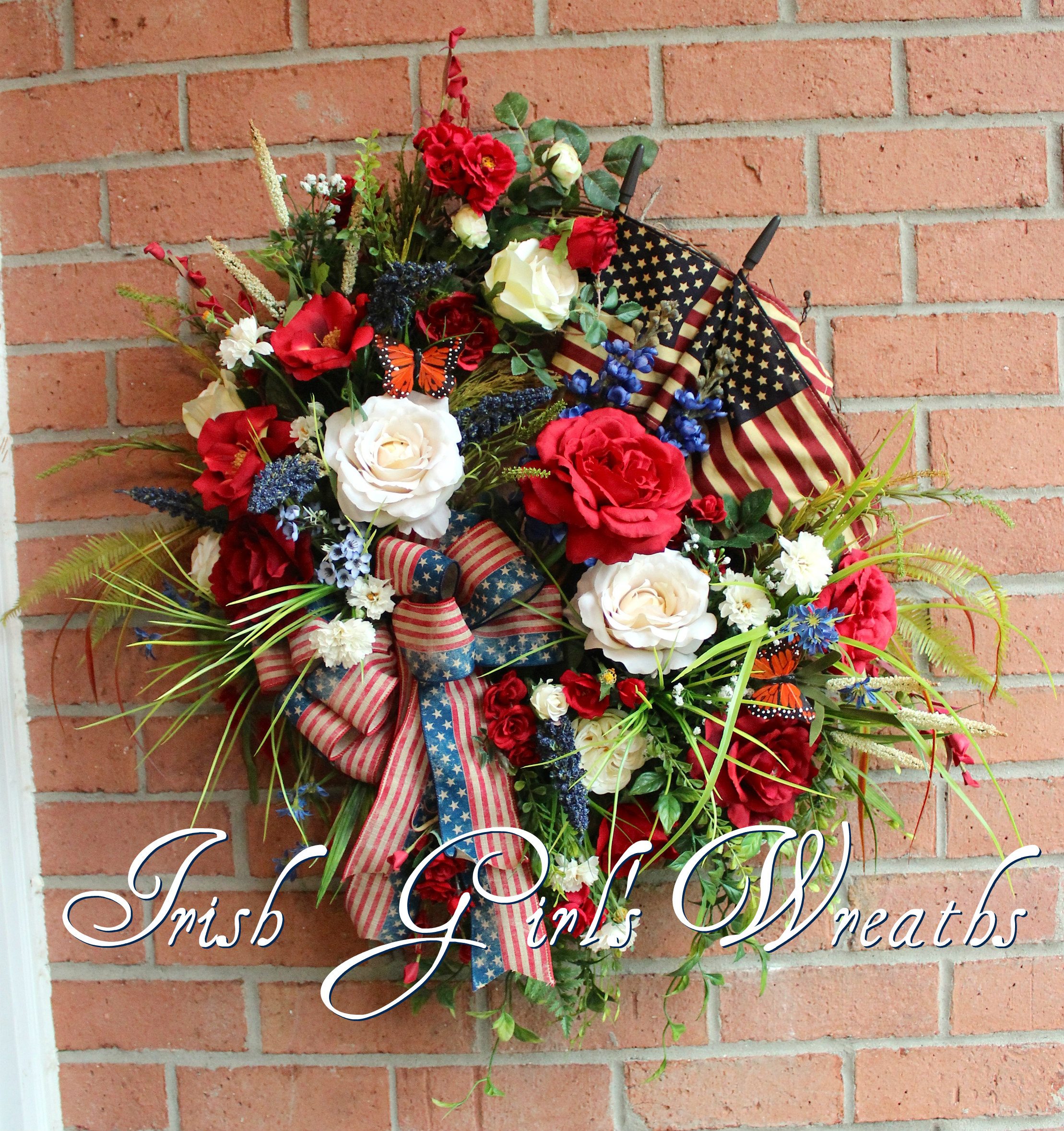 Rustic Patriotic Garden Wreath, Tea Stained Flags, Custom for Carol