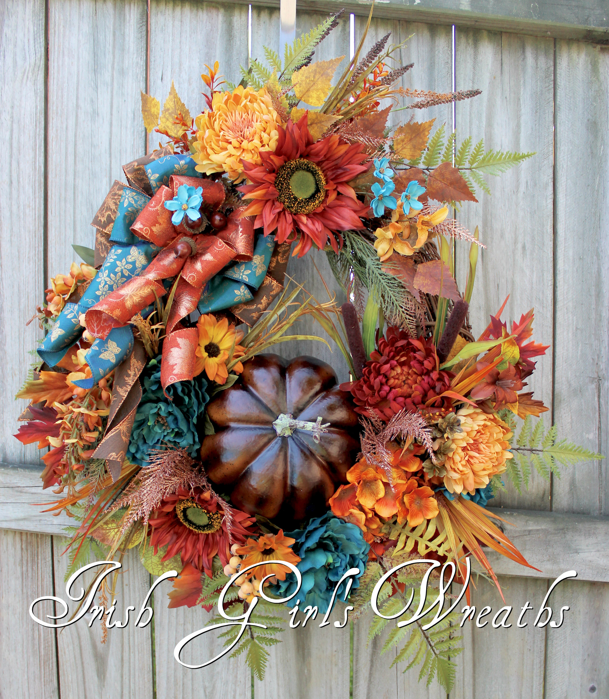 Elegant Teal Rust and Brown XL Fall Pumpkin Wreath, Tuscan Floral, Sunflower Fall Wreath, Copper, Deluxe Autumn Floral Decor