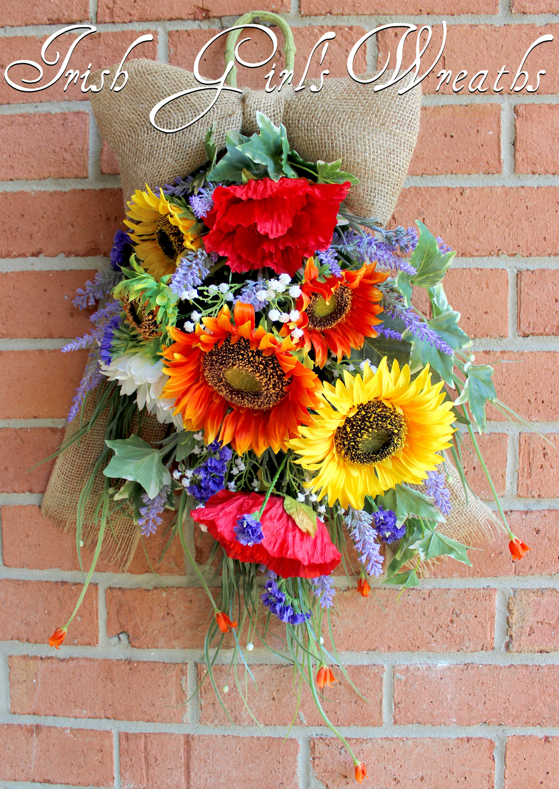 Tuscan Italy-French Country Floral Swag Wreath, Tri-Color Sunflower Poppy Summer lavender