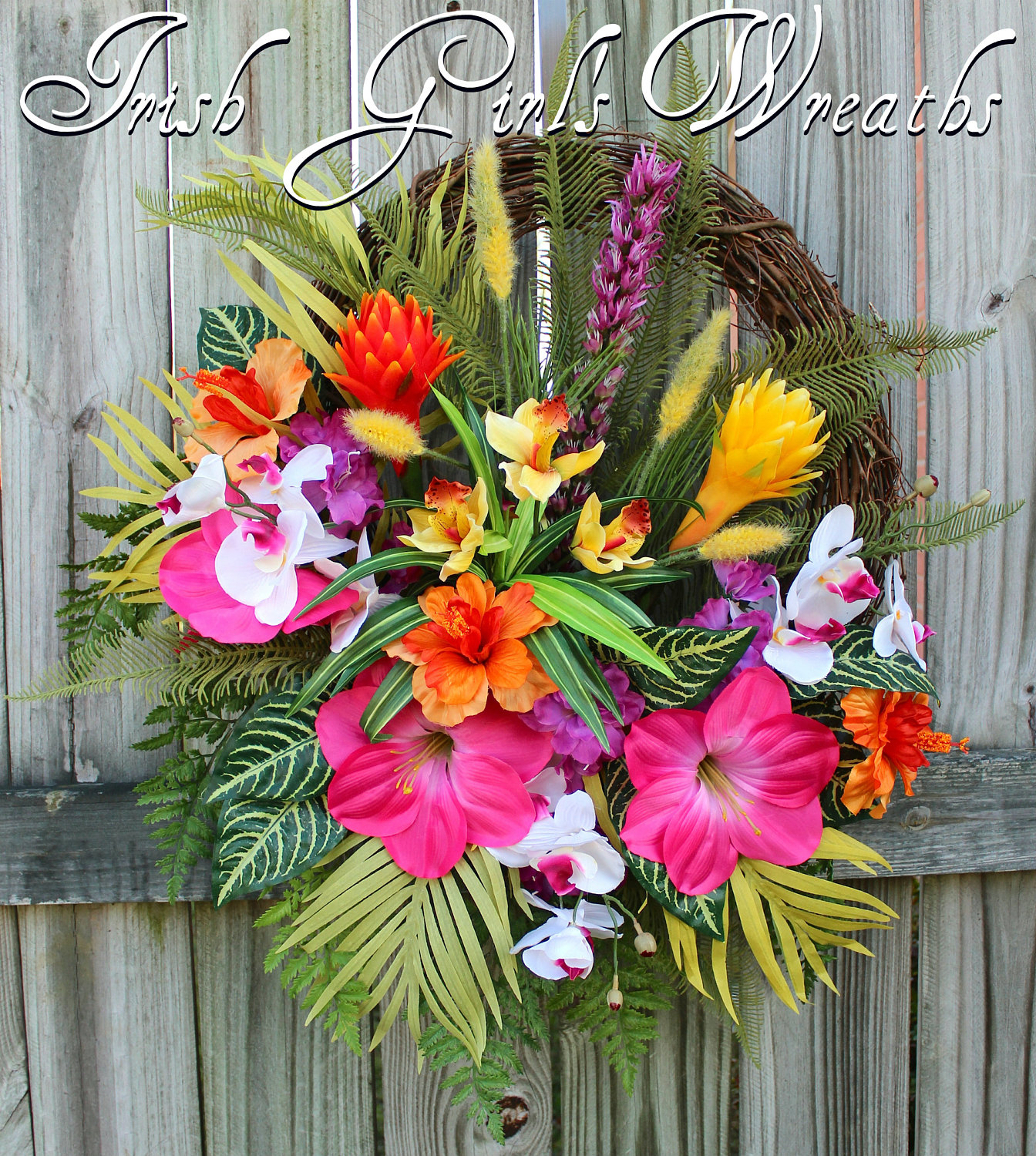 Tropical Island Luau Garden Wreath, Large Summer Paradise Floral Wreath