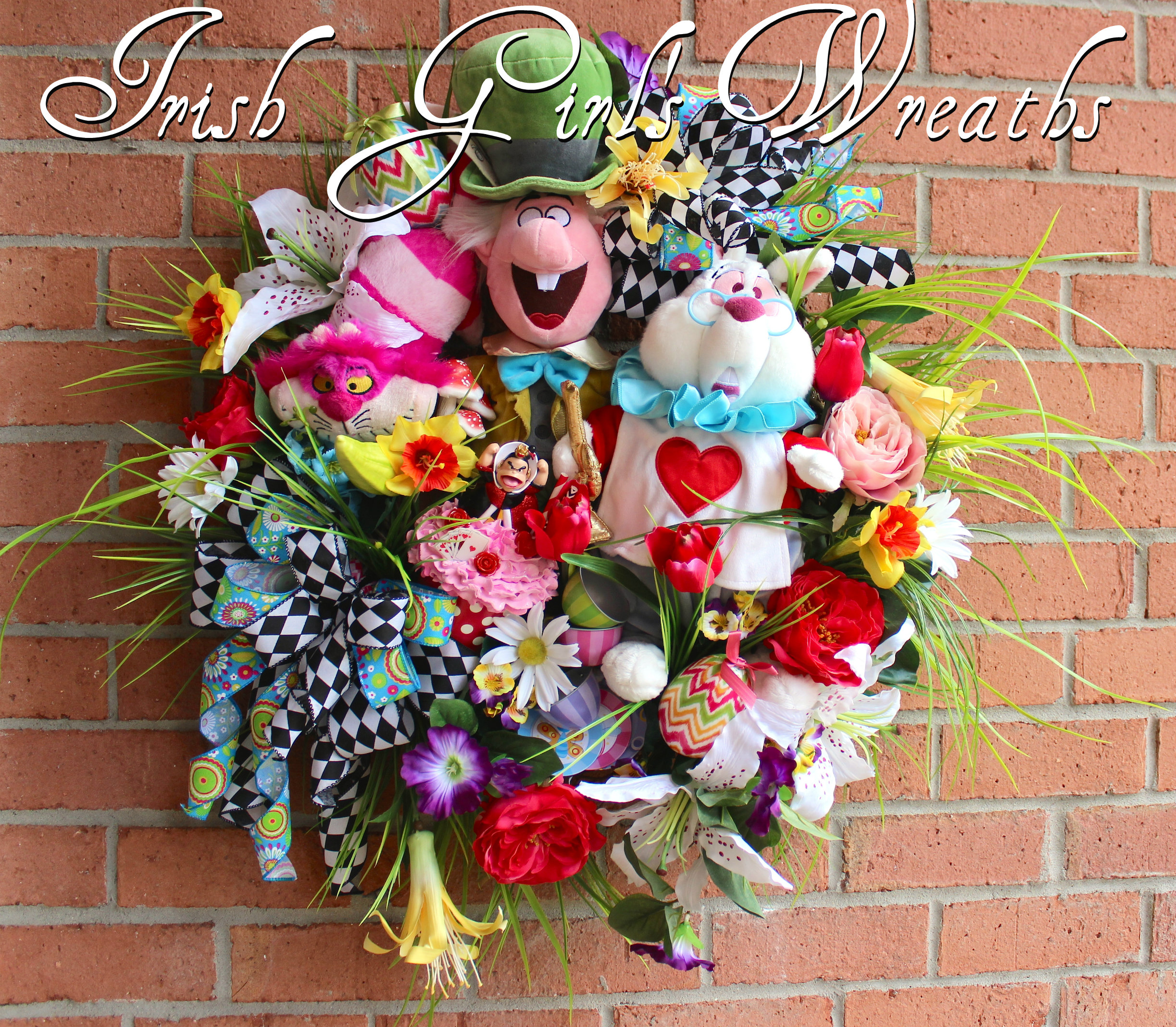 Alice in Wonderland Easter and Spring Celebration Wreath, CUSTOM ORDER FOR PATTY, Mad Hatter, White Rabbit, Cheshire Cat, Queen of Hearts