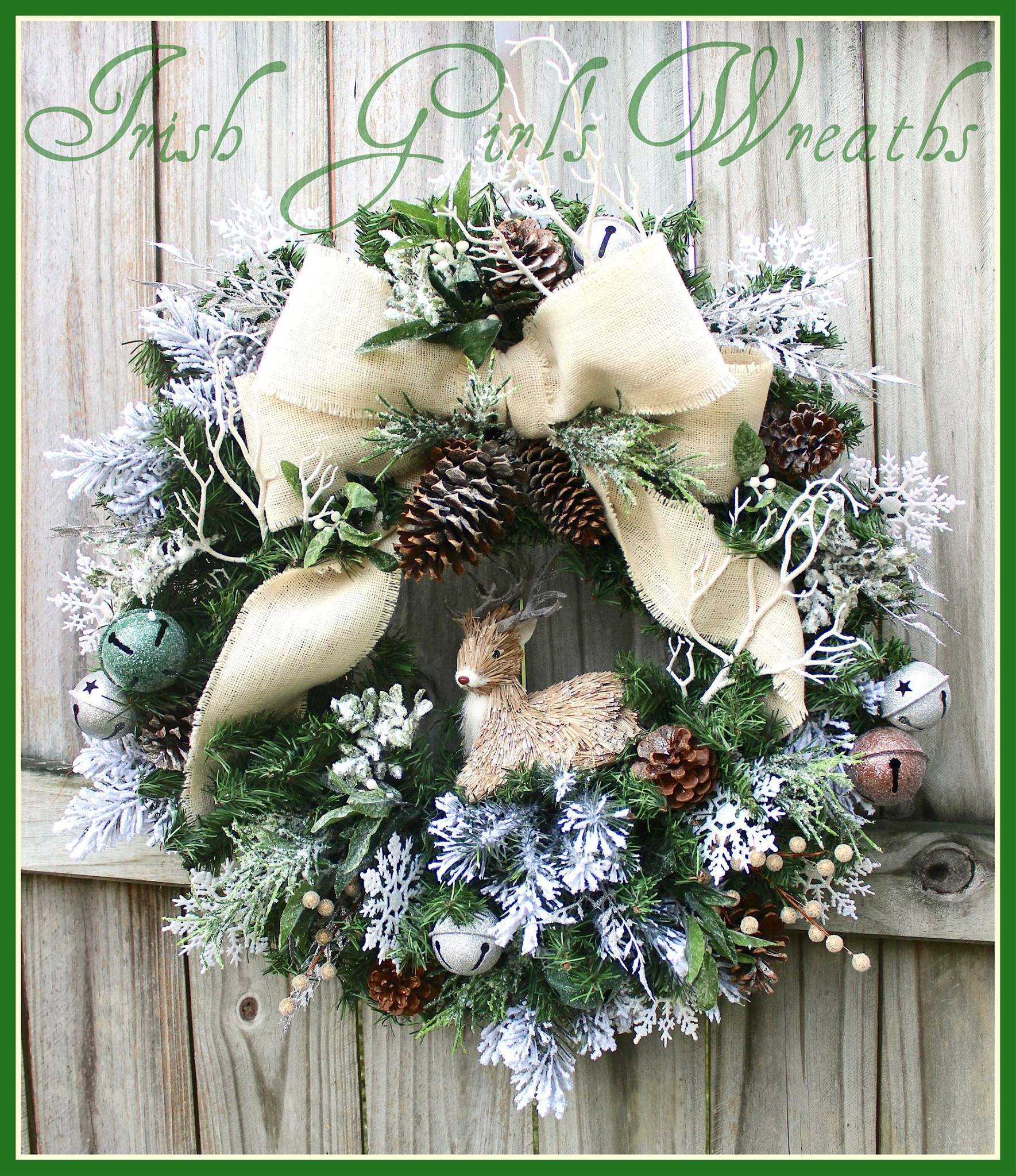 Ivory Rustic Winter Deer Woodland Christmas Wreath