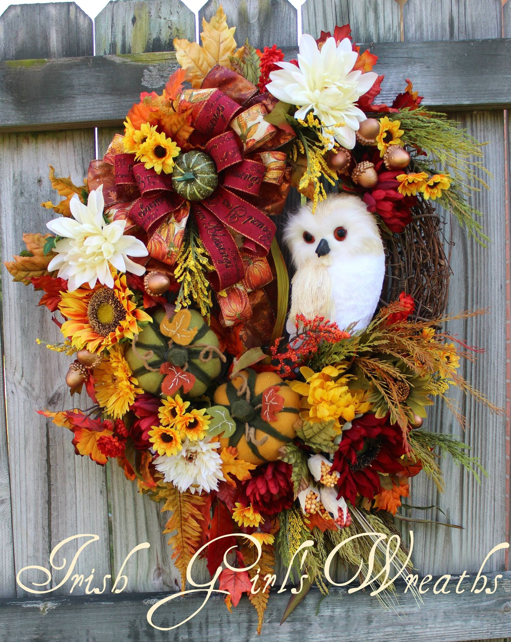 Fall Blessings Sunflower Ivory Owl Large Autumn Wreath