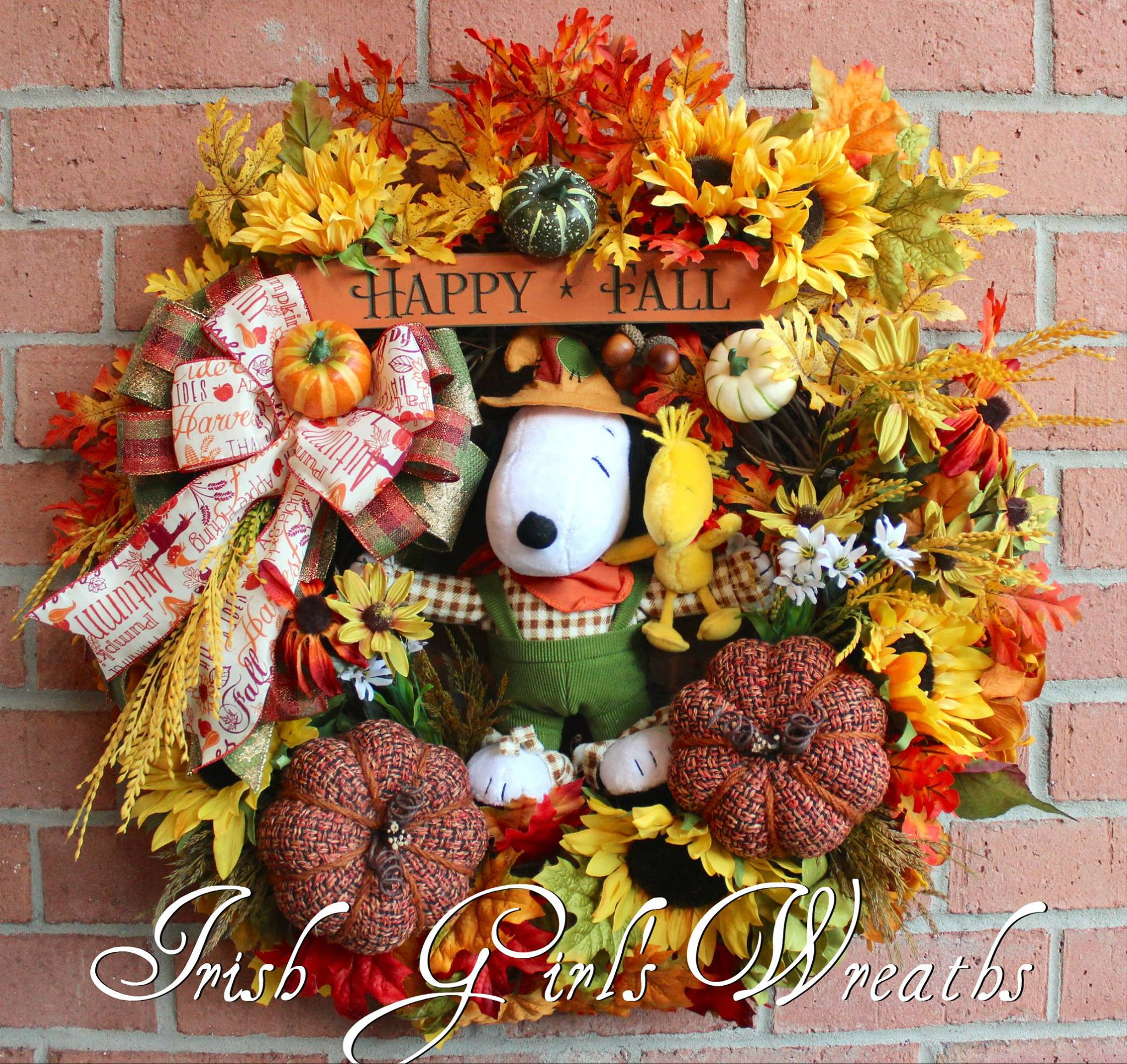 Scarecrow Snoopy and Woodstock Happy Fall Peanuts Wreath