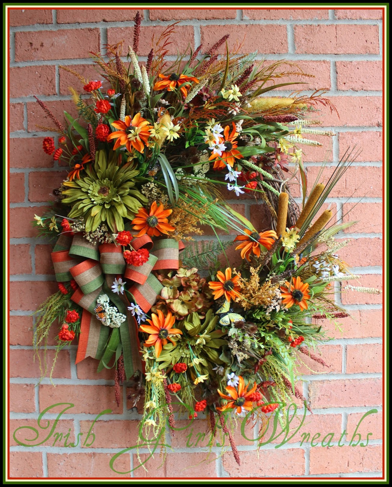 X-Large Rustic Summer Lake House Wreath, Coastal, Daisy, Orange, rust, Olive, Moss, Cattails, lake-side