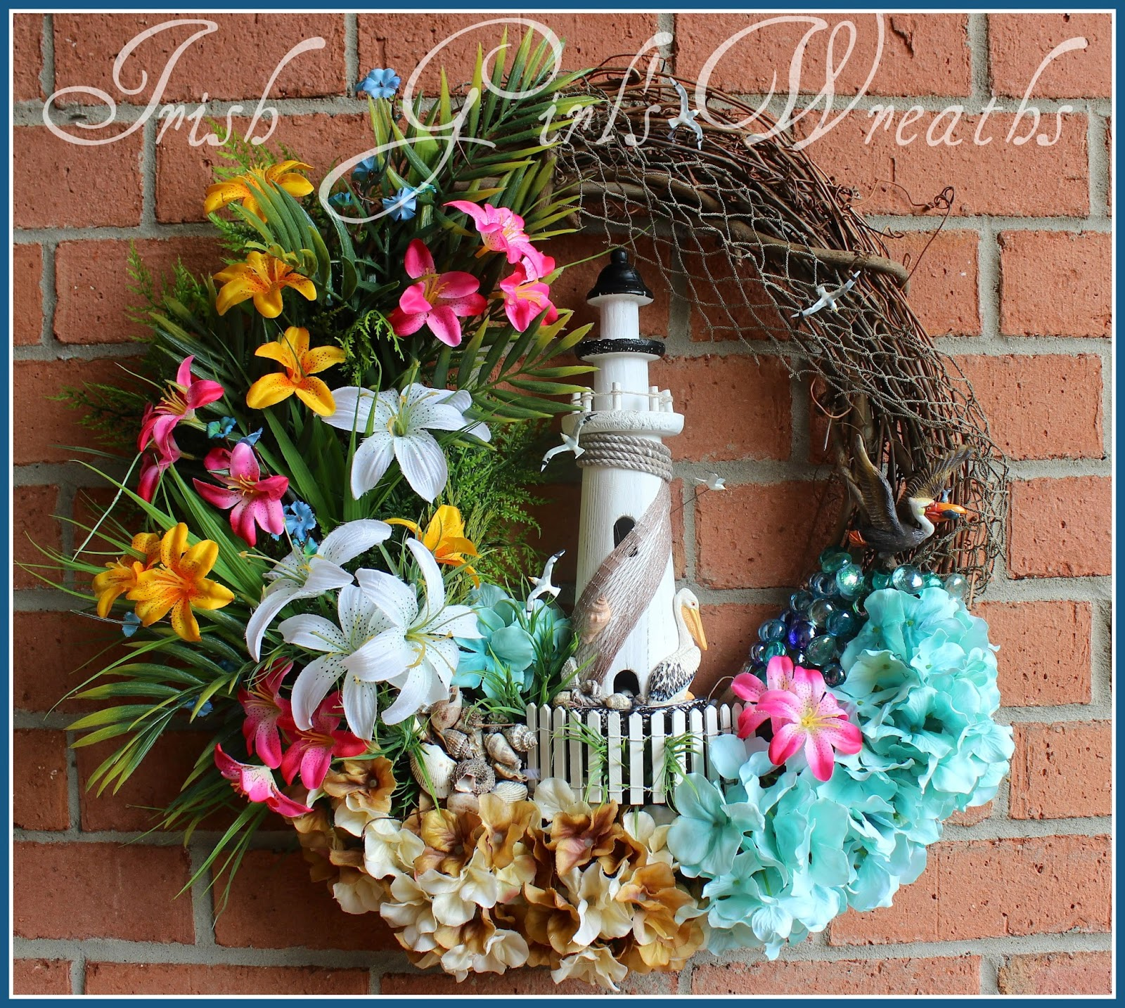 Tropical Coastal Lighthouse Wreath, Pelican, Seagull, Turquoise, pink, palm trees, Sand, Sea, beach, Shells, hydrangea, lily, Picket fence