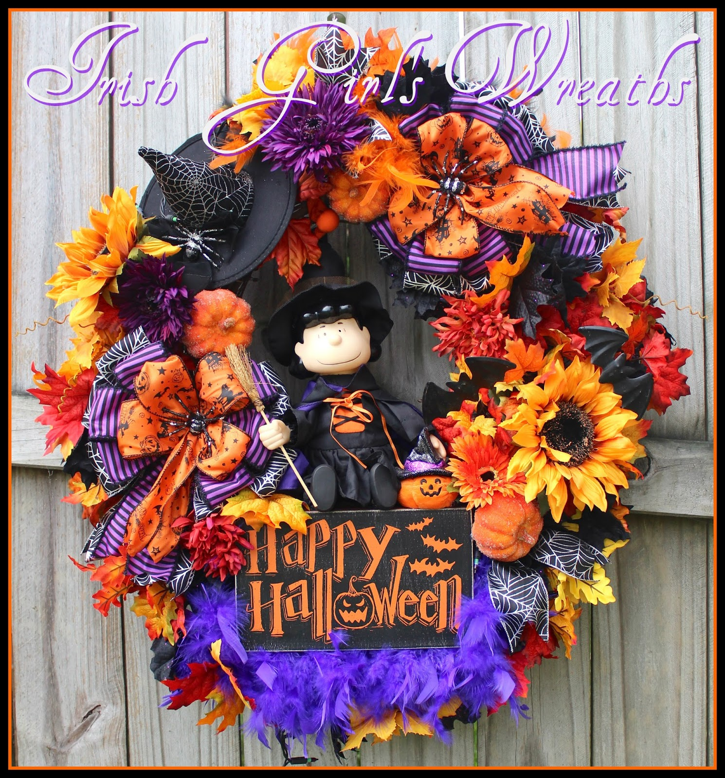 Custom Witch Lucy Peanuts Halloween Wreath, for Alison