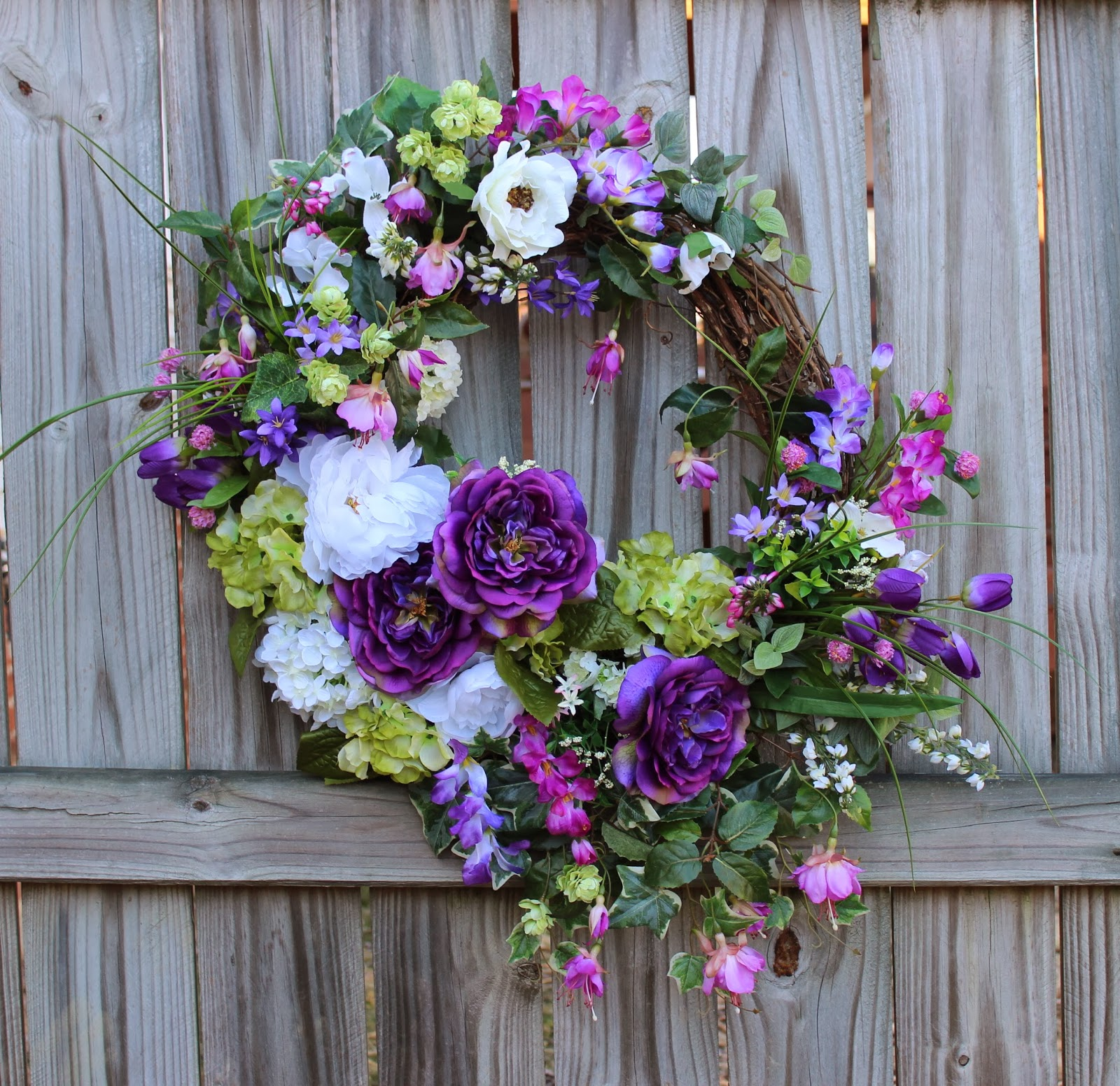 Purple and Green Cottage Garden Wreath, Spring, Mother's Day