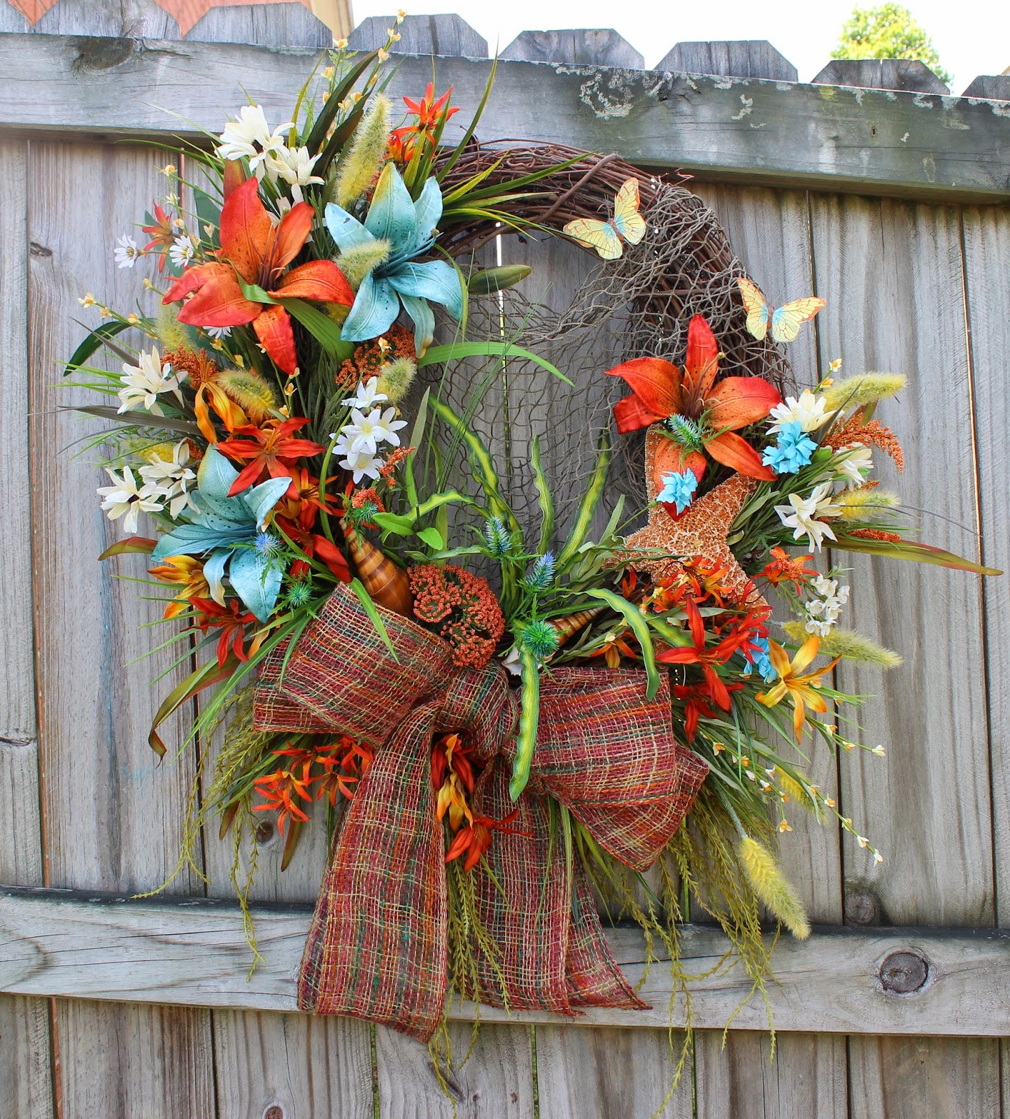 Coastal Lilies Orange and Turquoise/Teal Beach Starfish Wreath