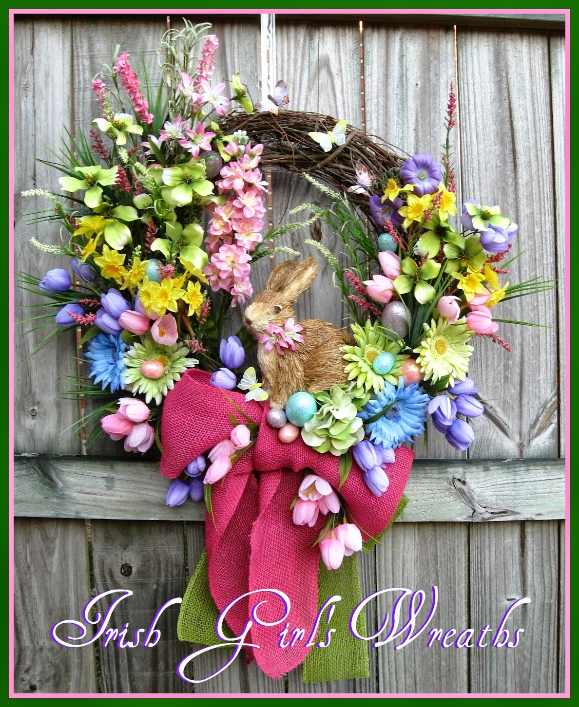 Sisal Easter Bunny Rabbit and Eggs Colorful XL Spring Wreath, Tulips, Gerber Daisies, burlap, Pink, Yellow, Blue, Green, Purple, Daffodils