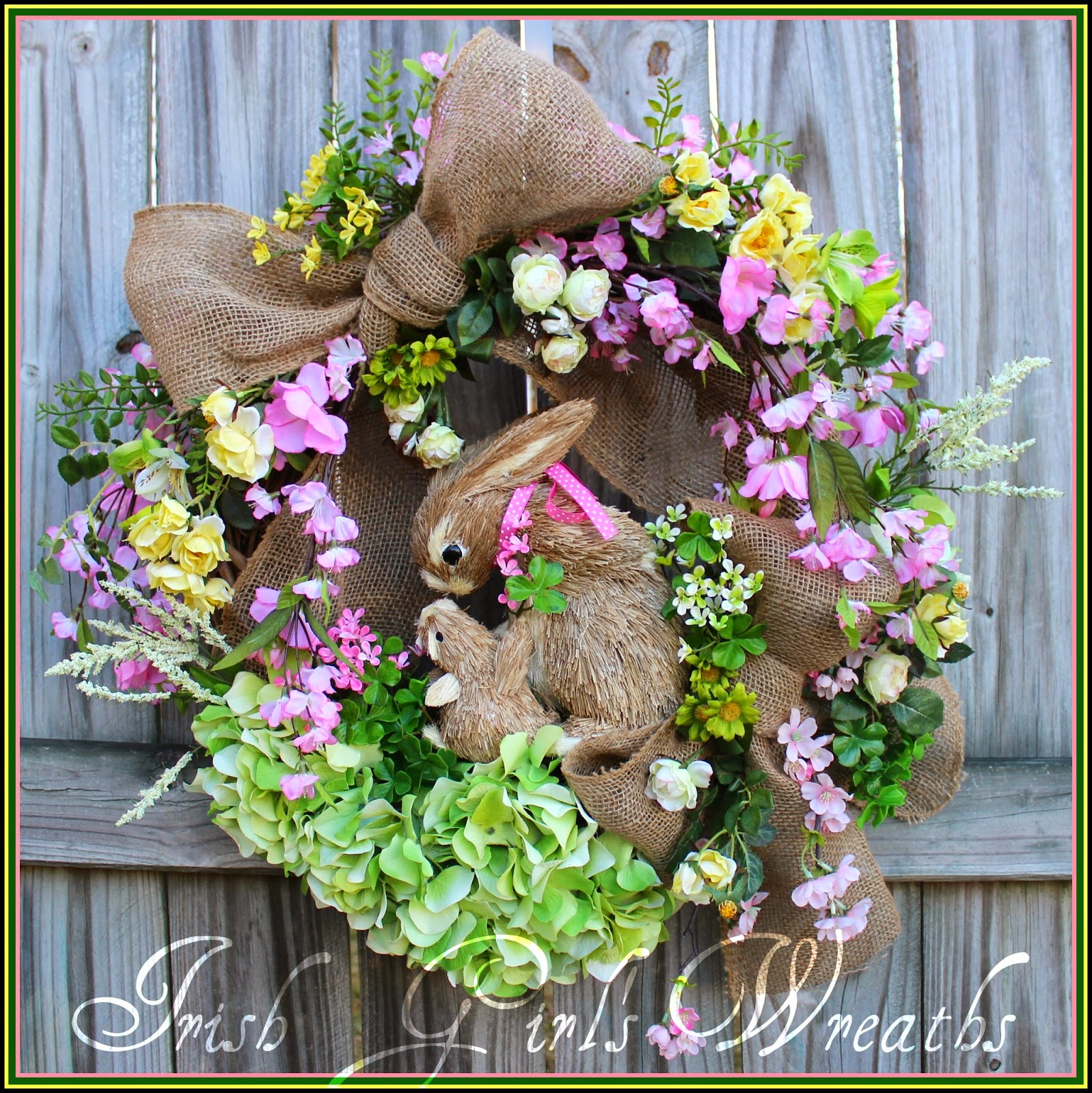 Cherry Blossom and Wild Rose Bunny Rabbit Spring Wreath, mother & baby, Easter