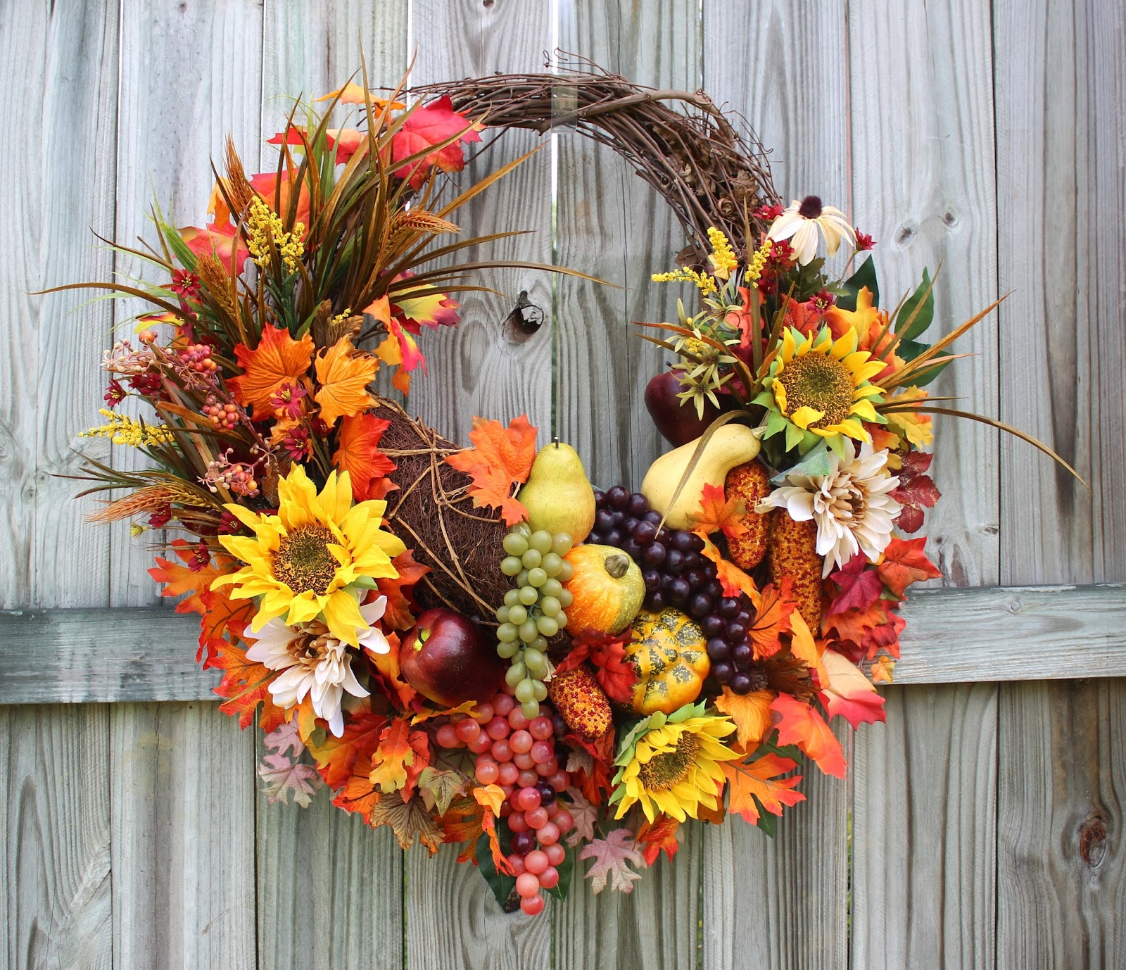 Fall Harvest Cornucopia Sunflower Thanksgiving Wreath