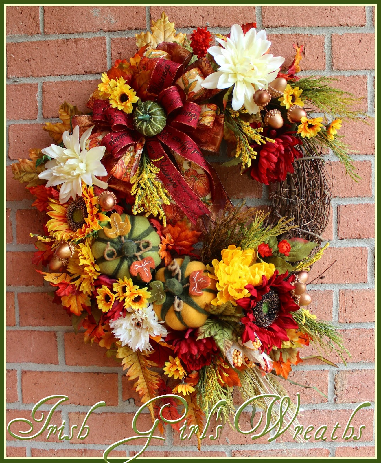 Fall Blessings Sunflower Large Autumn Wreath, Pumpkin, Acorn, Thanksgiving