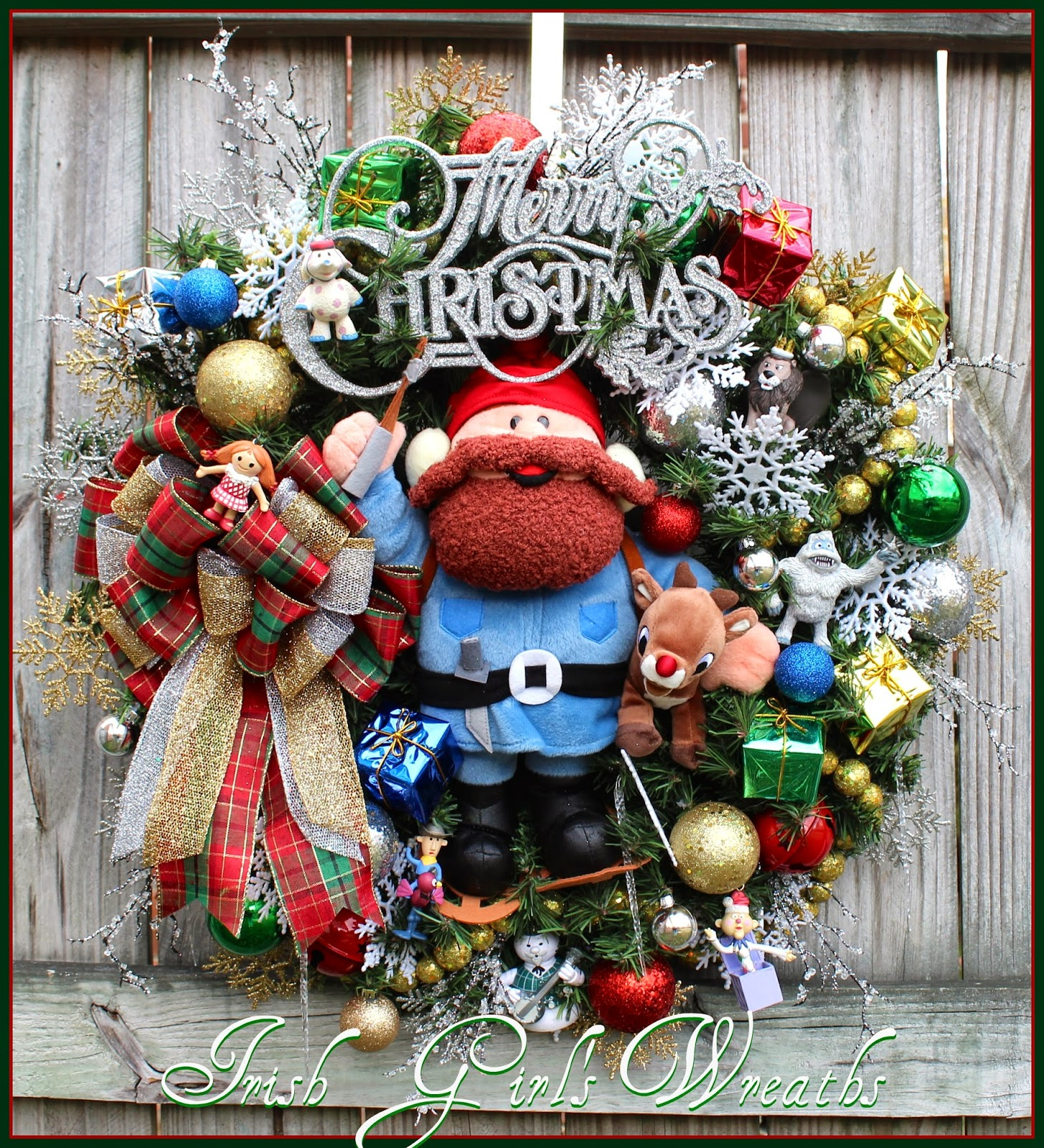 Silver and Gold Yukon Cornelius & Rudolph and Island of Misfit Toys Christmas Wreath