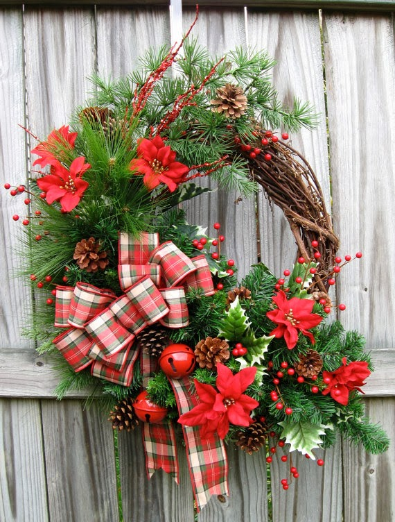 Extra Large Rustic Cabin Winter Wreath, Sleigh bells, County, Woodland, lodge, Christmas