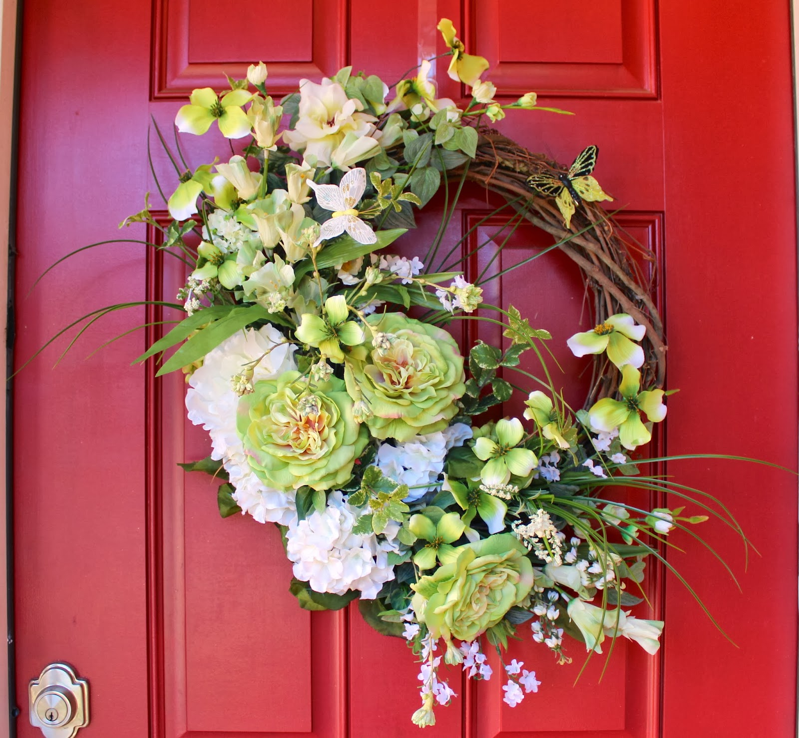 St Patricks Spring Cottage Rose and Dogwood Wreath, Peony, Hydrangea, XLarge, Summer, Irish, green and white wreath