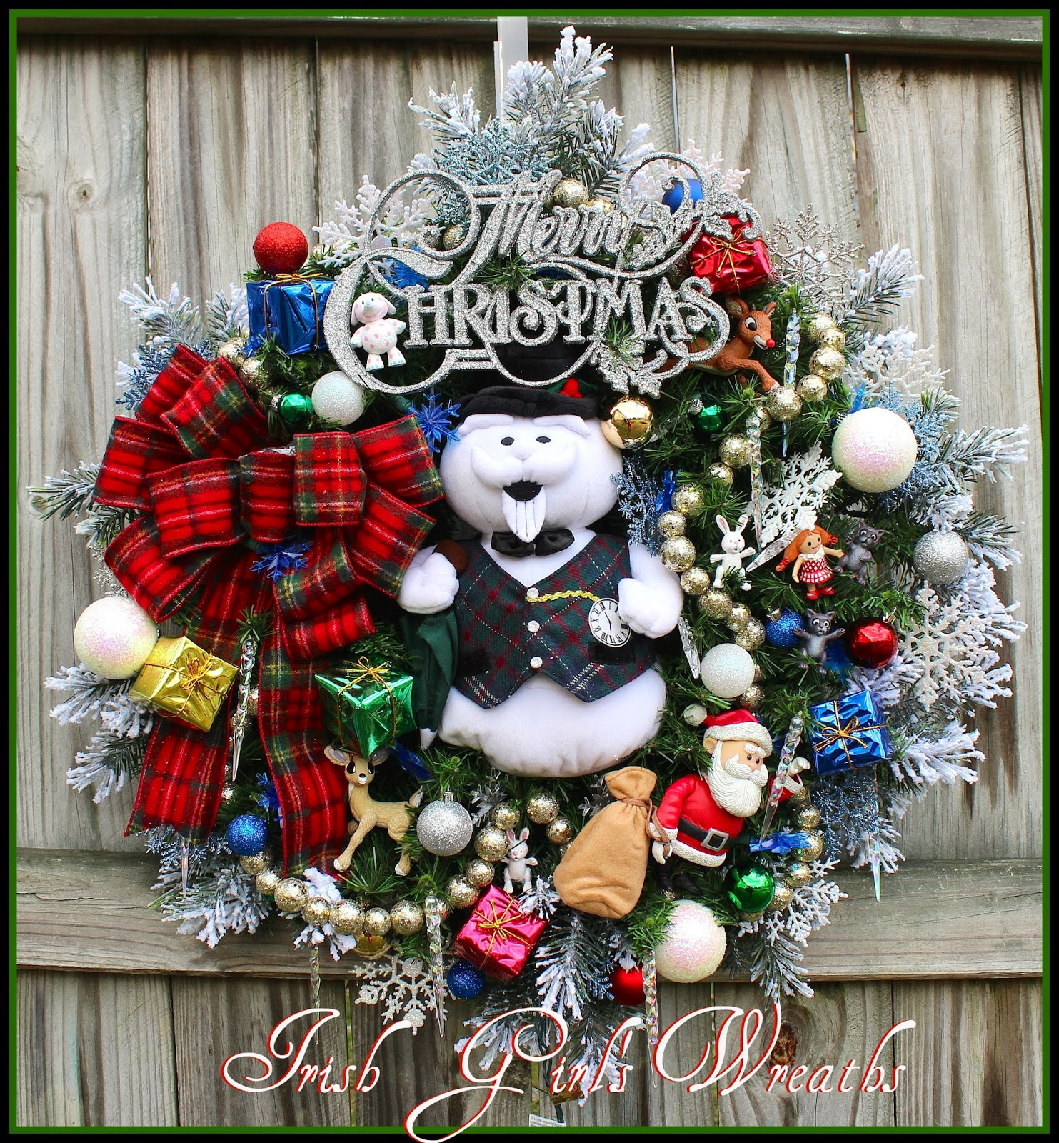 Sam the Snowman Christmas wreath, Flannel tartan bow, Snowflake lights, Rudolph, Santa
