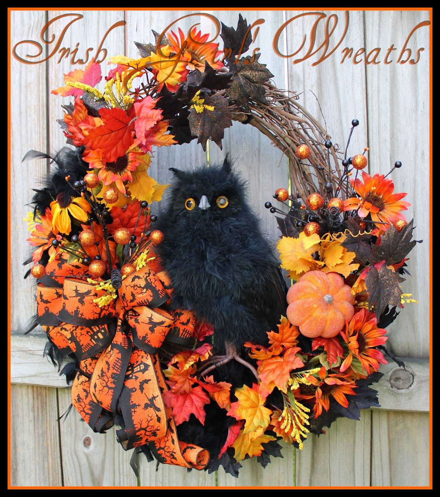 Orange and Black Haunted Owl Large Halloween Wreath, Fall, 12″ black Feather Owl