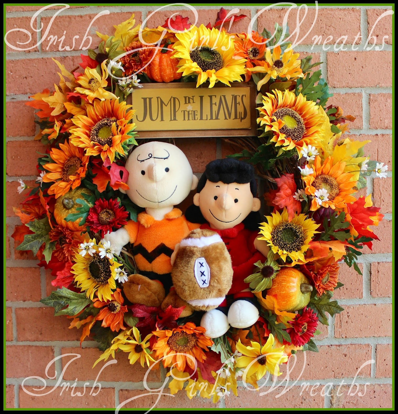 Custom Charlie Brown and Lucy with Football Peanuts Fall Wreath
