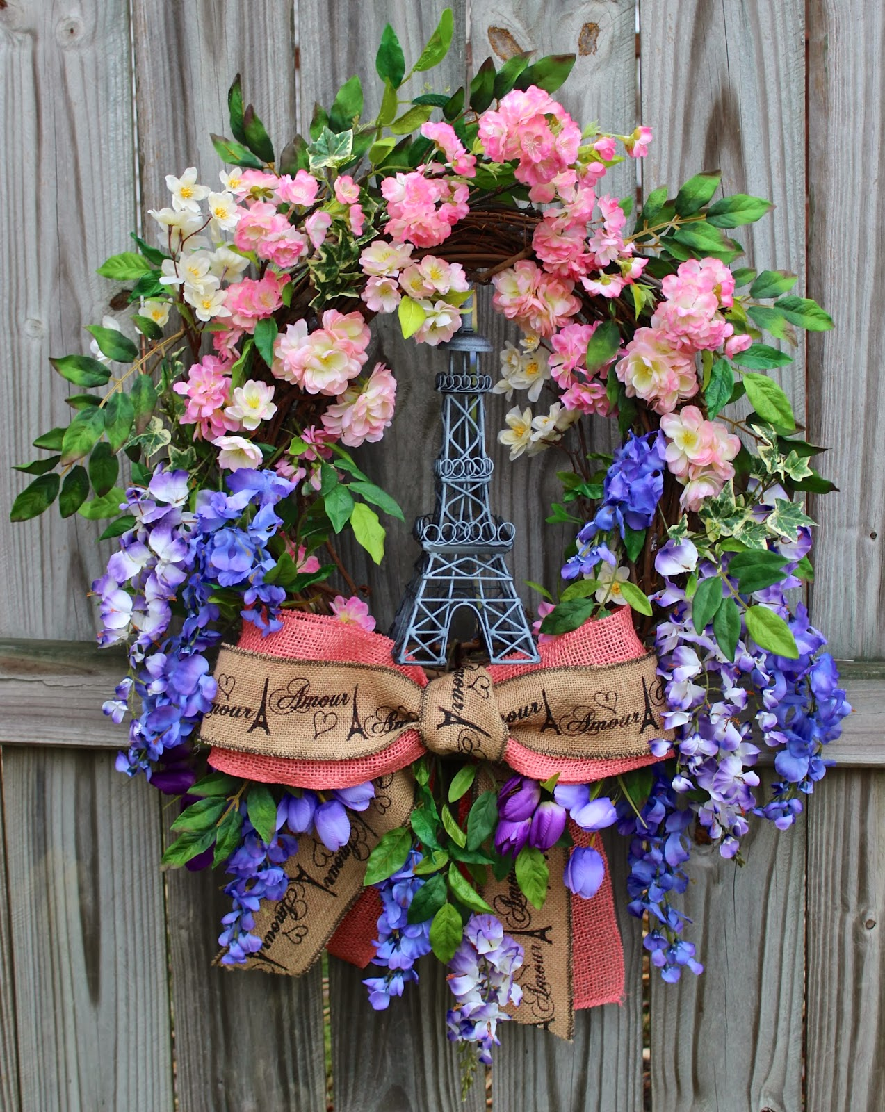 Paris in Spring Wisteria and Cherry Blossom Wreath, XXXLarge, Eiffel Tower