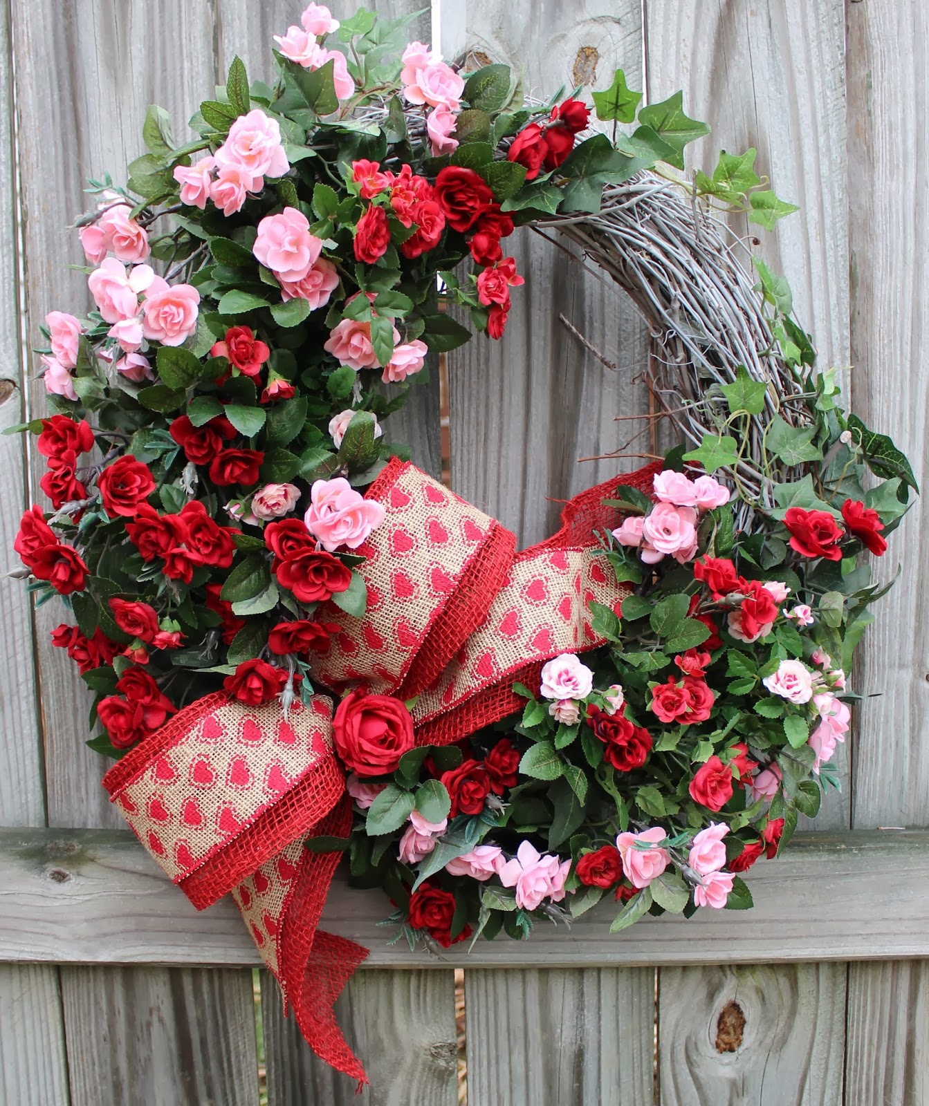 Pink and Red Sweetheart Rose Spring Valentines Wreath