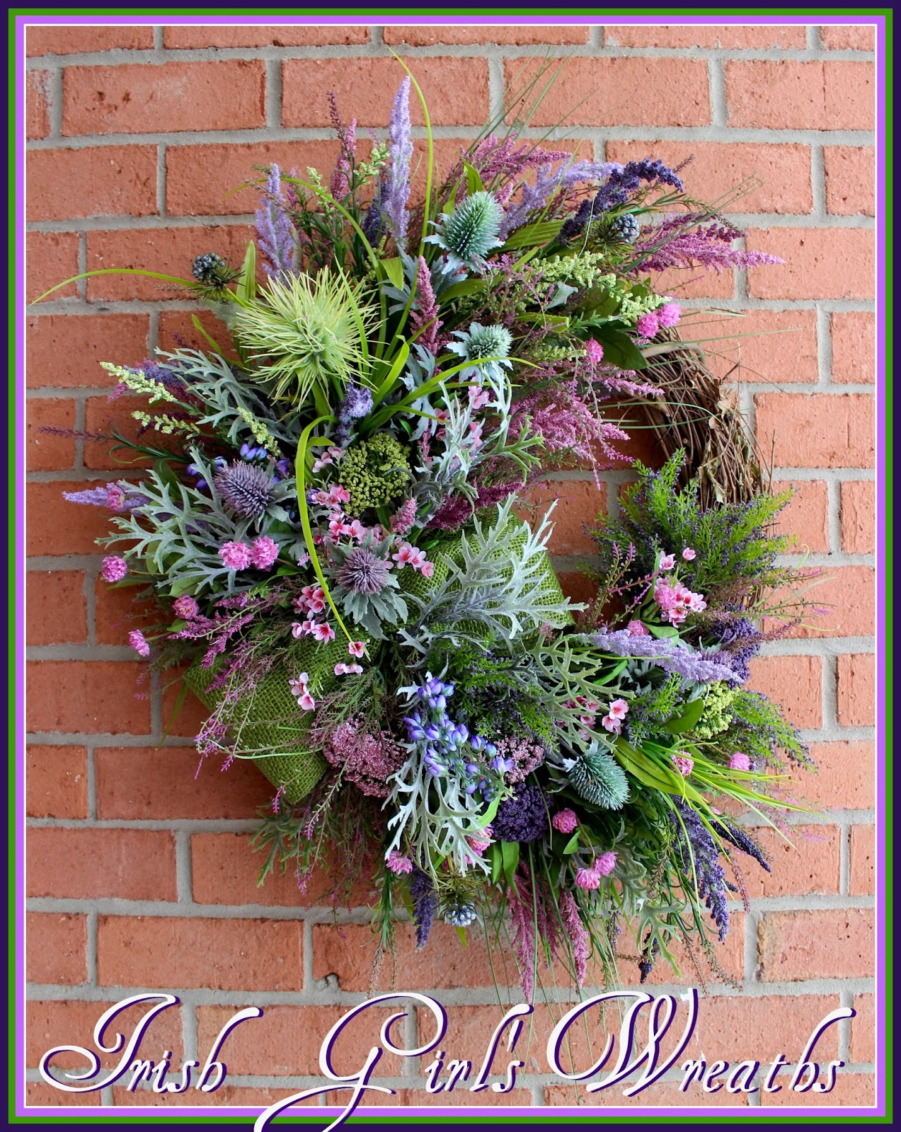 XL Heather Covered Scottish Highland Coast wreath, Scotland Coastal, thistle, Purple, lavender, Celtic