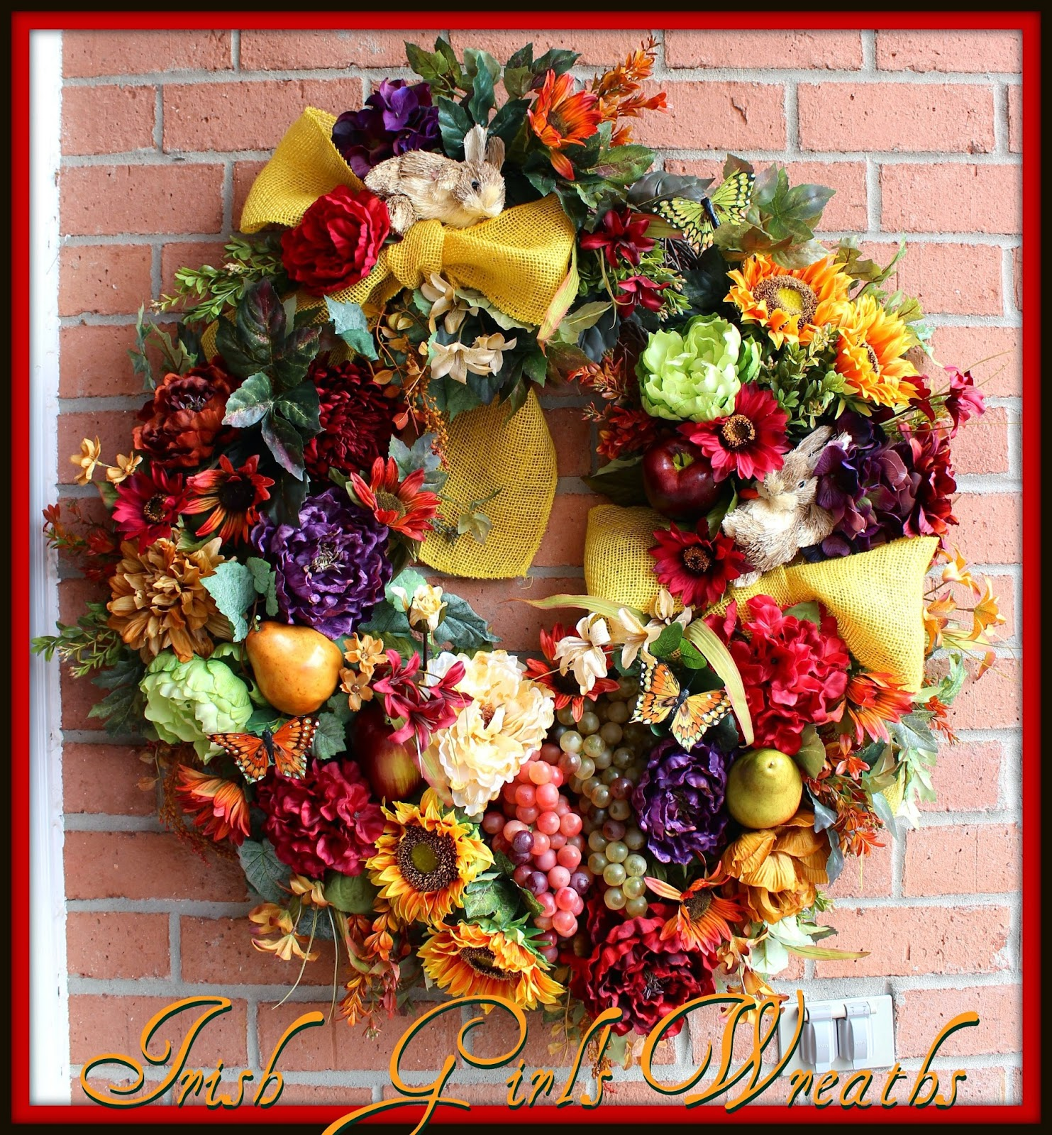 Custom Tuscan Bunnies XL Kitchen Wreath