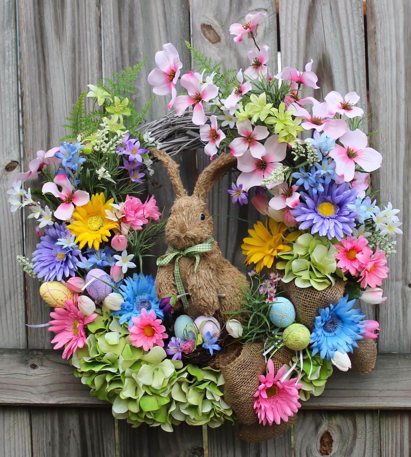 Burlap Easter Bunny & Eggs Colorful Daisy Dogwood Spring Wreath, pink, blue, purple, 12″ Burlap Bunny Rabbit
