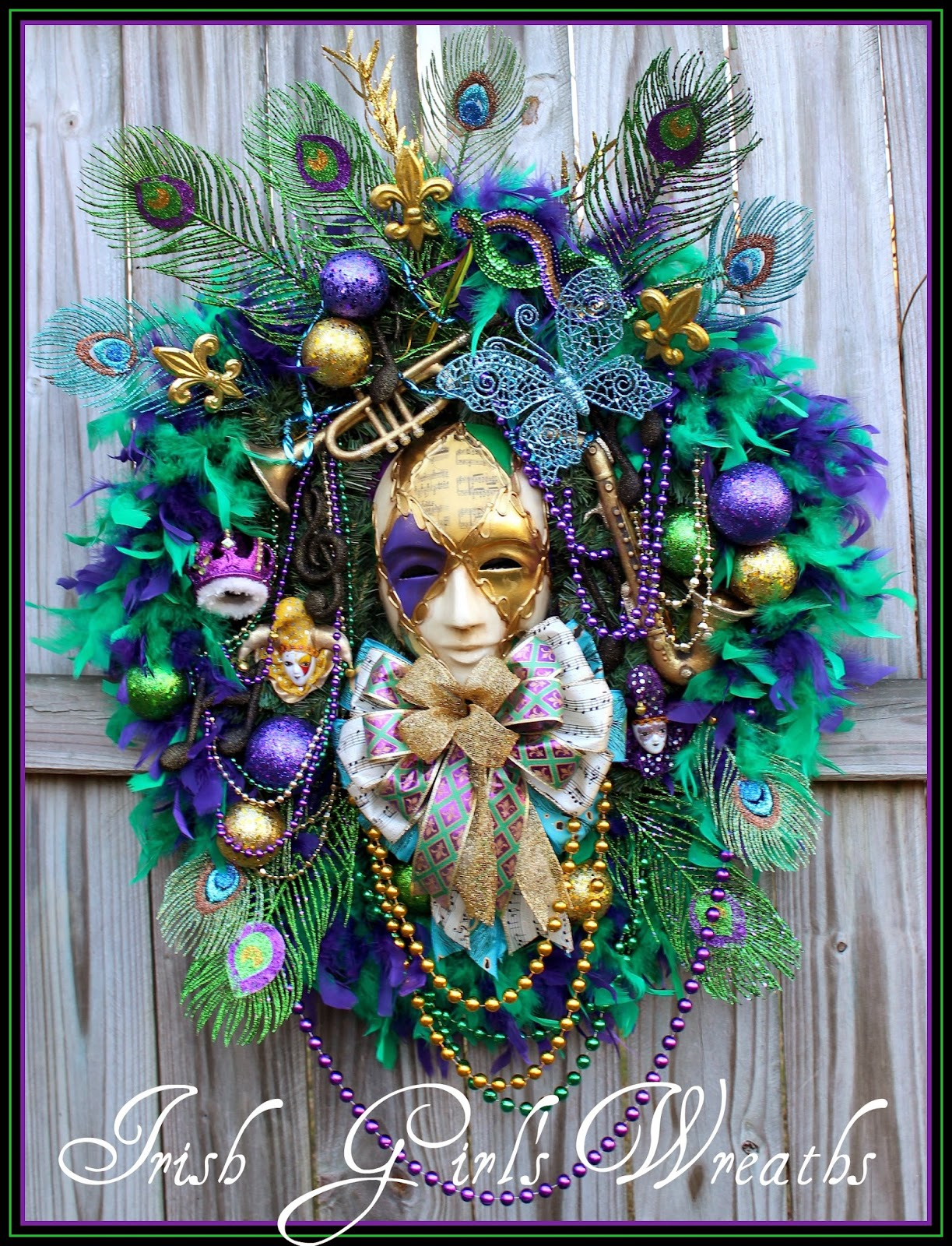 Music Man Birthplace of Jazz Mardi Gras Wreath