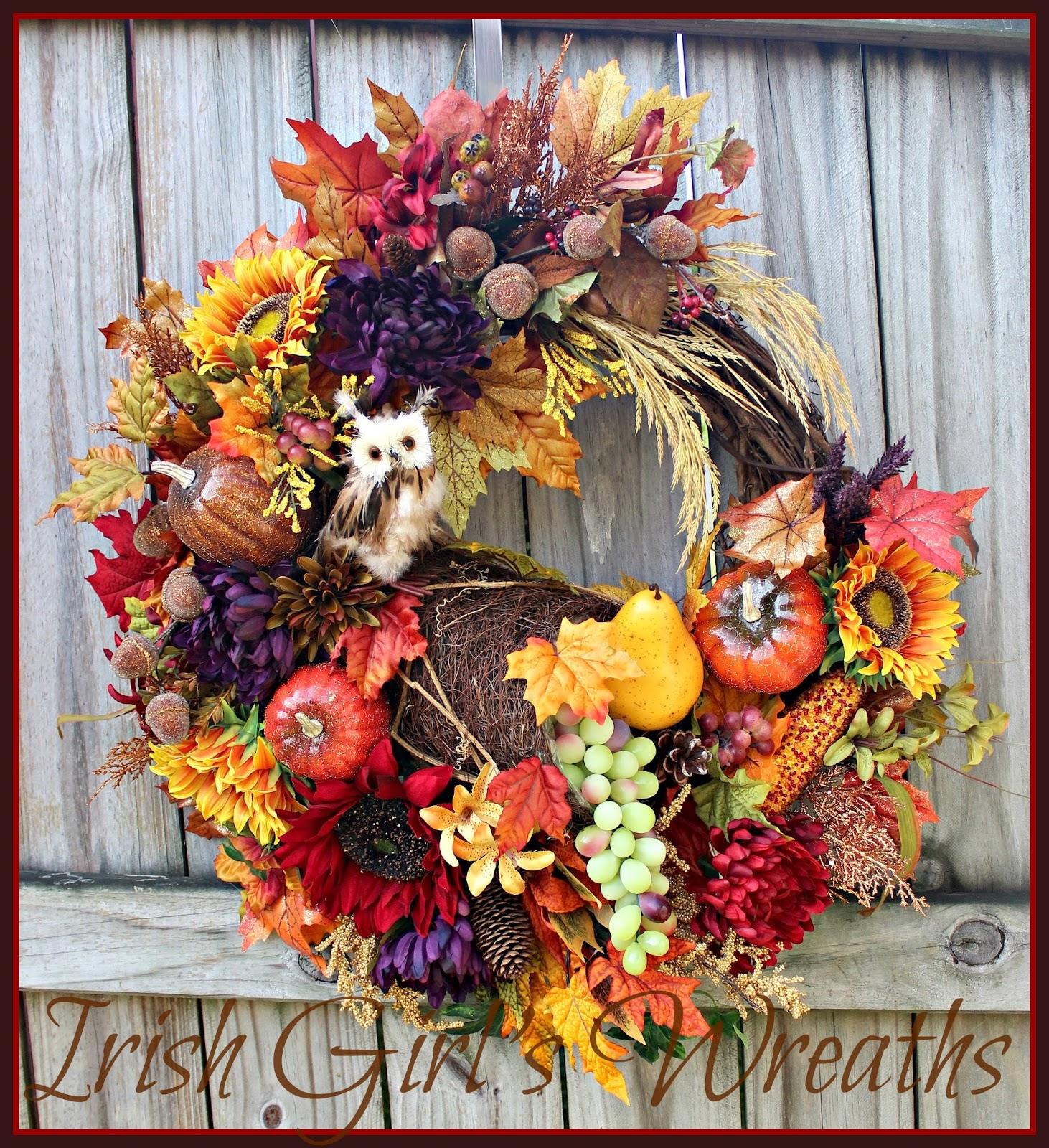 Custom Rustic Harvest Cornucopia With Owl Wreath