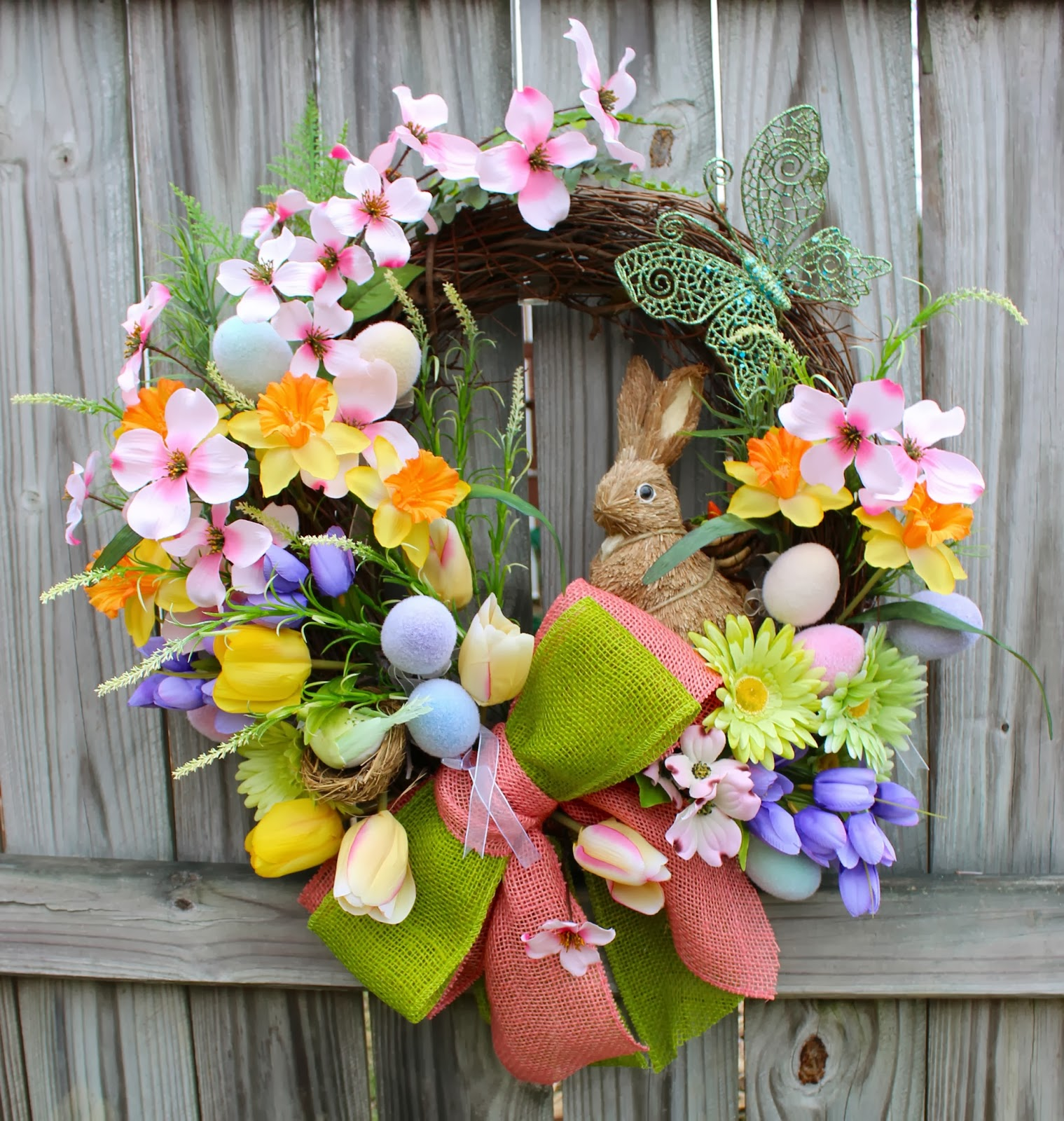 Easter Bunny with Eggs Spring Bloom Dogwood Wreath