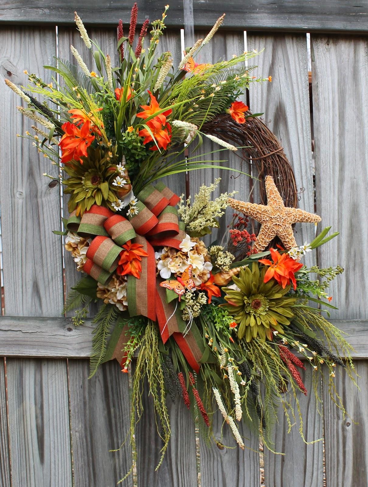 Orange Khaki Green Huge Coastal Starfish Wreath