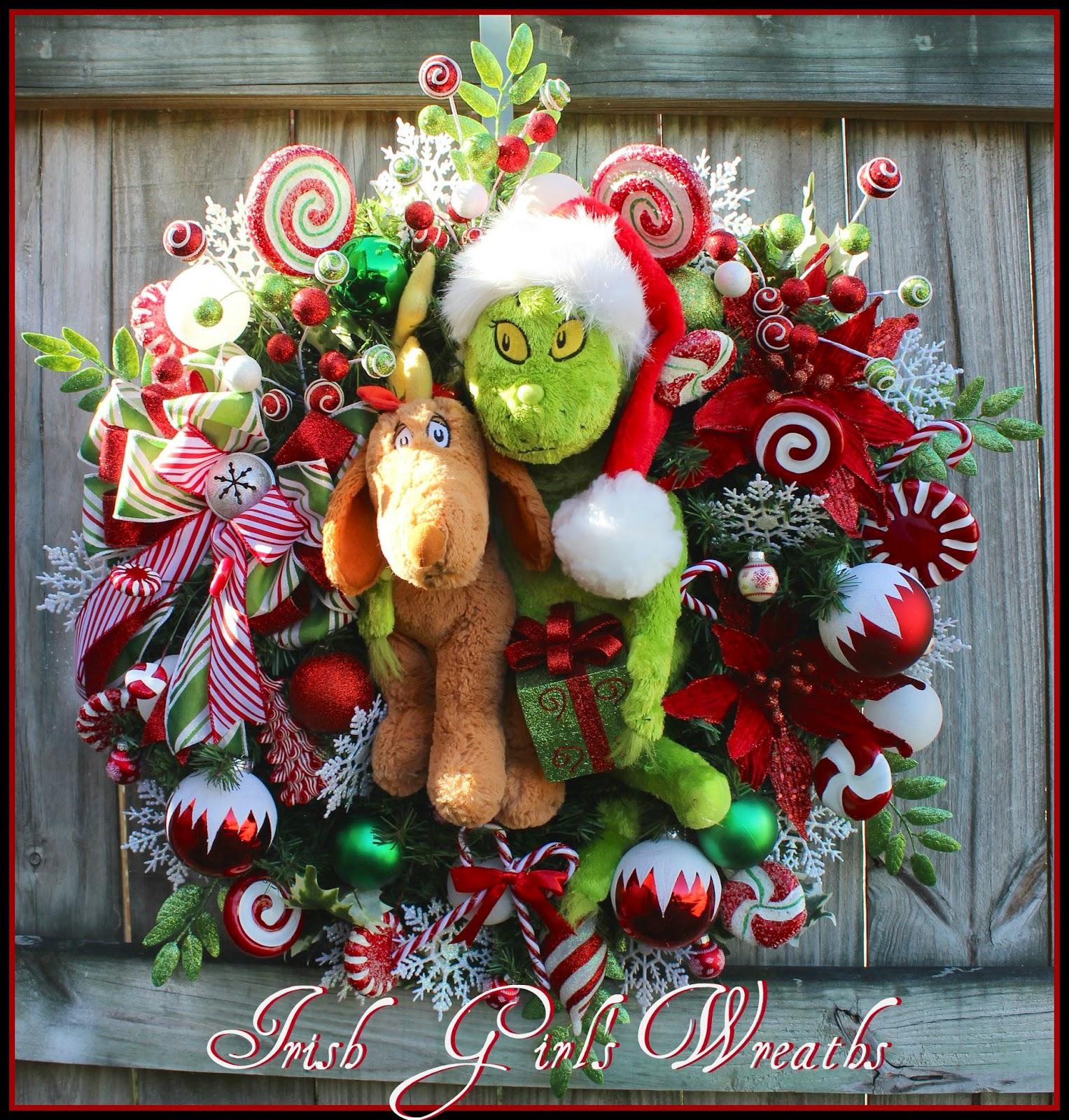 Custom Grinch and Reindeer dog Max Christmas Wreath