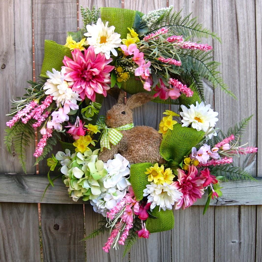 Spring Easter Bunny Rabbit Wreath, Pink, Green, White, Hydrangea