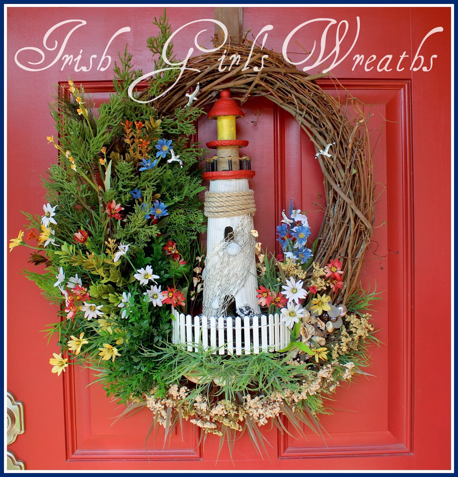 North Woods Pacific Coastal Summer Lighthouse Wreath, 14″ wooden lighthouse, Rustic, New England Coast, Maine