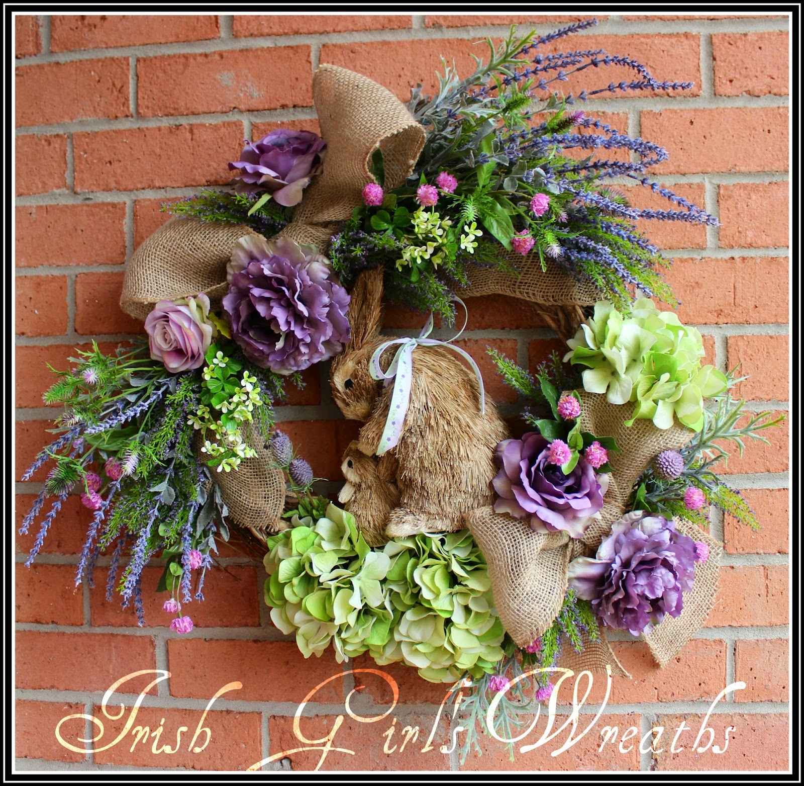 Mother and baby Bunny Rabbit Spring Wreath, Lavender, clover, shamrocks, heather, roses, Peony and Hydrangea, Easter, Mother's Day, Nursery