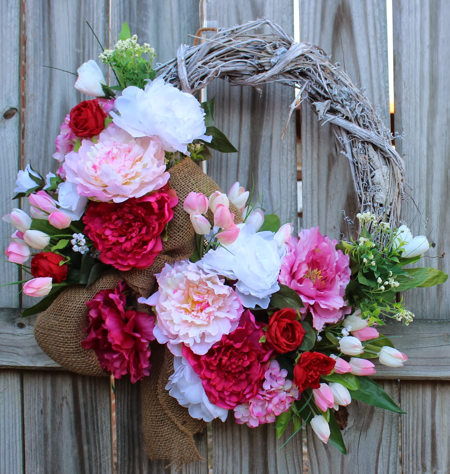 Spring Cottage Pink and White Peony Wreath. mini tulips, Mother's Day, Valentines, Easter