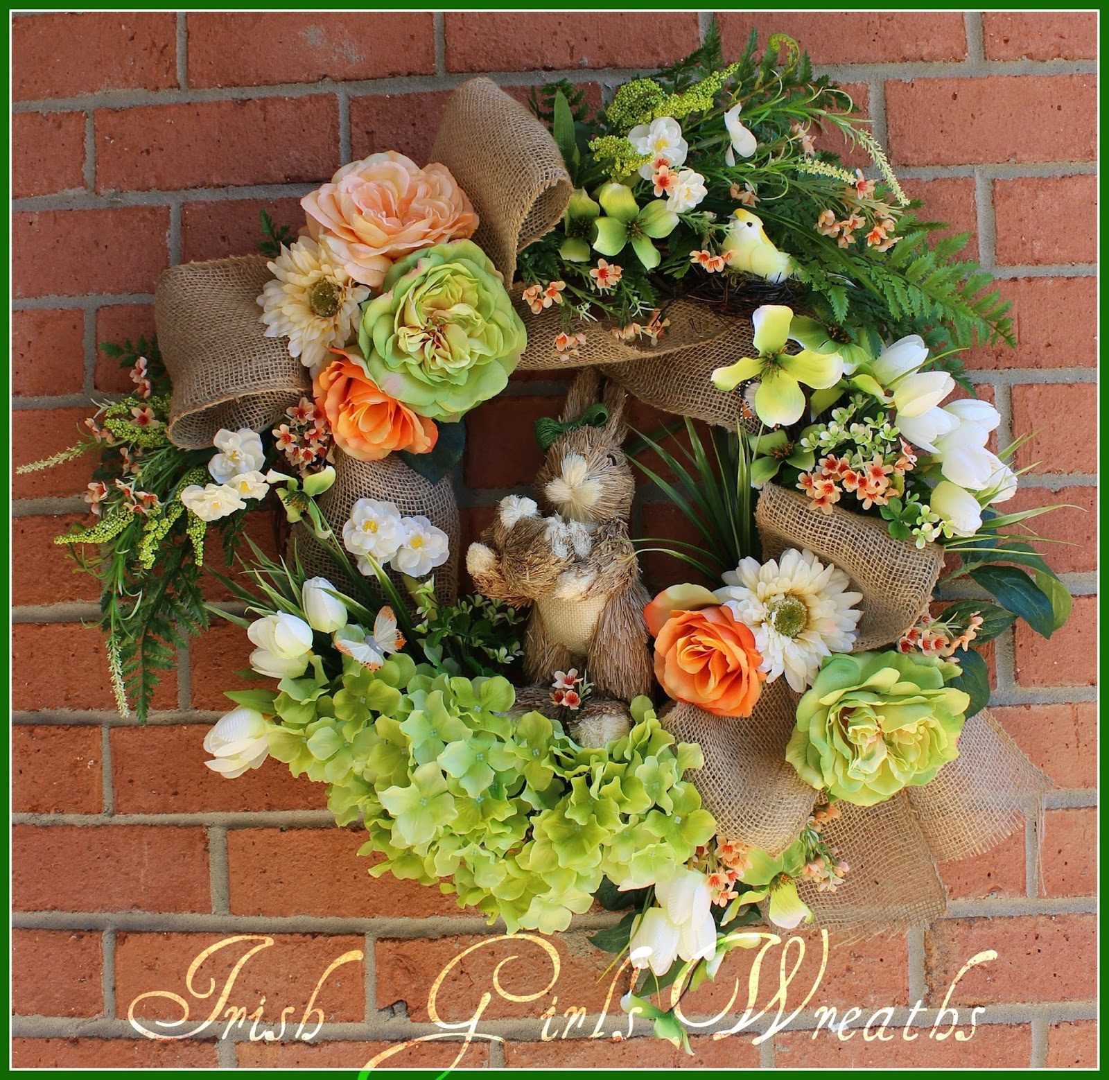 New Momma Peach and Green Bunny Rabbit Wreath, Rose, Tulip, Sisal Mother & Baby