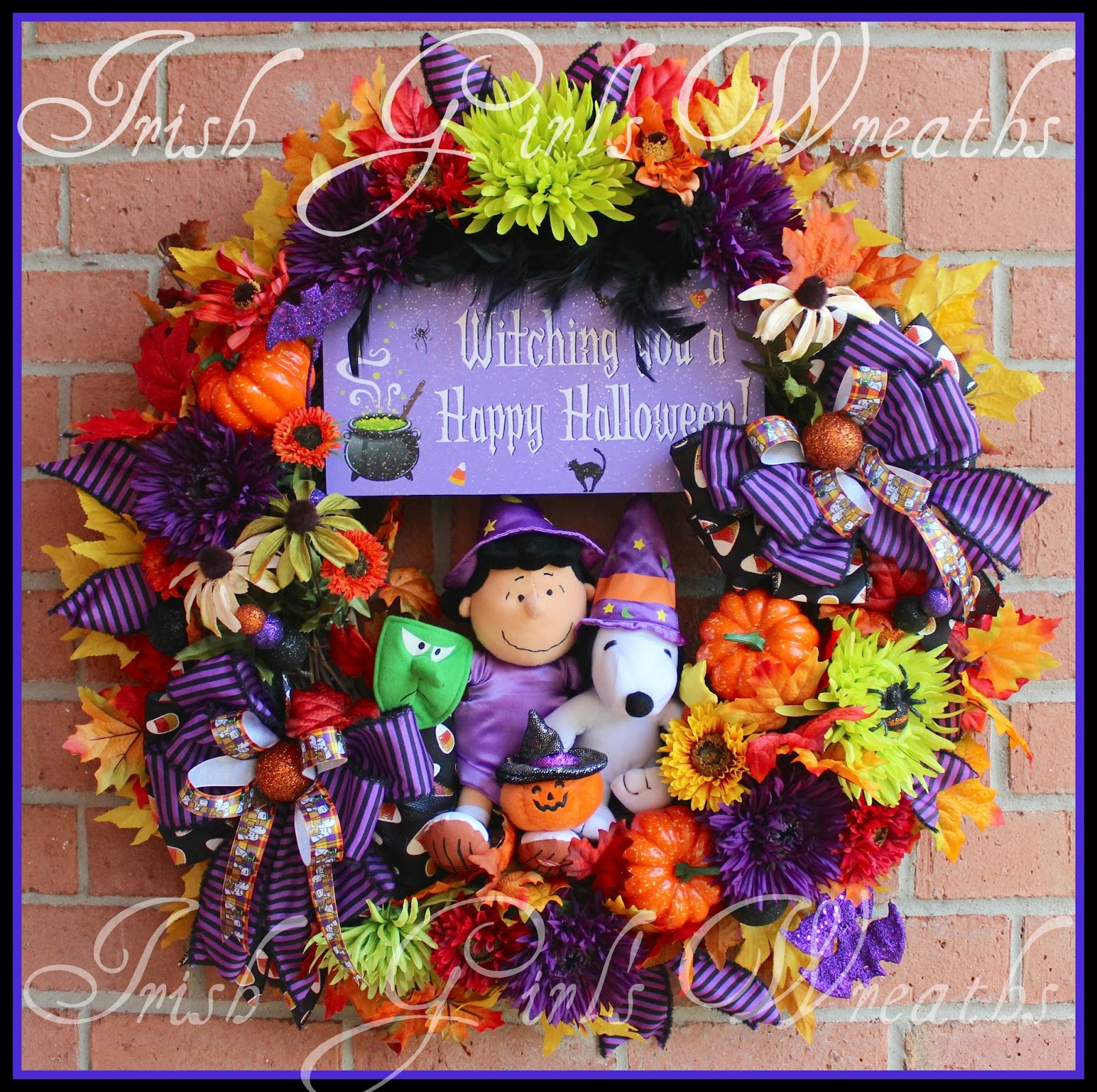 Lucy and Snoopy Witching You a Happy Halloween Wreath