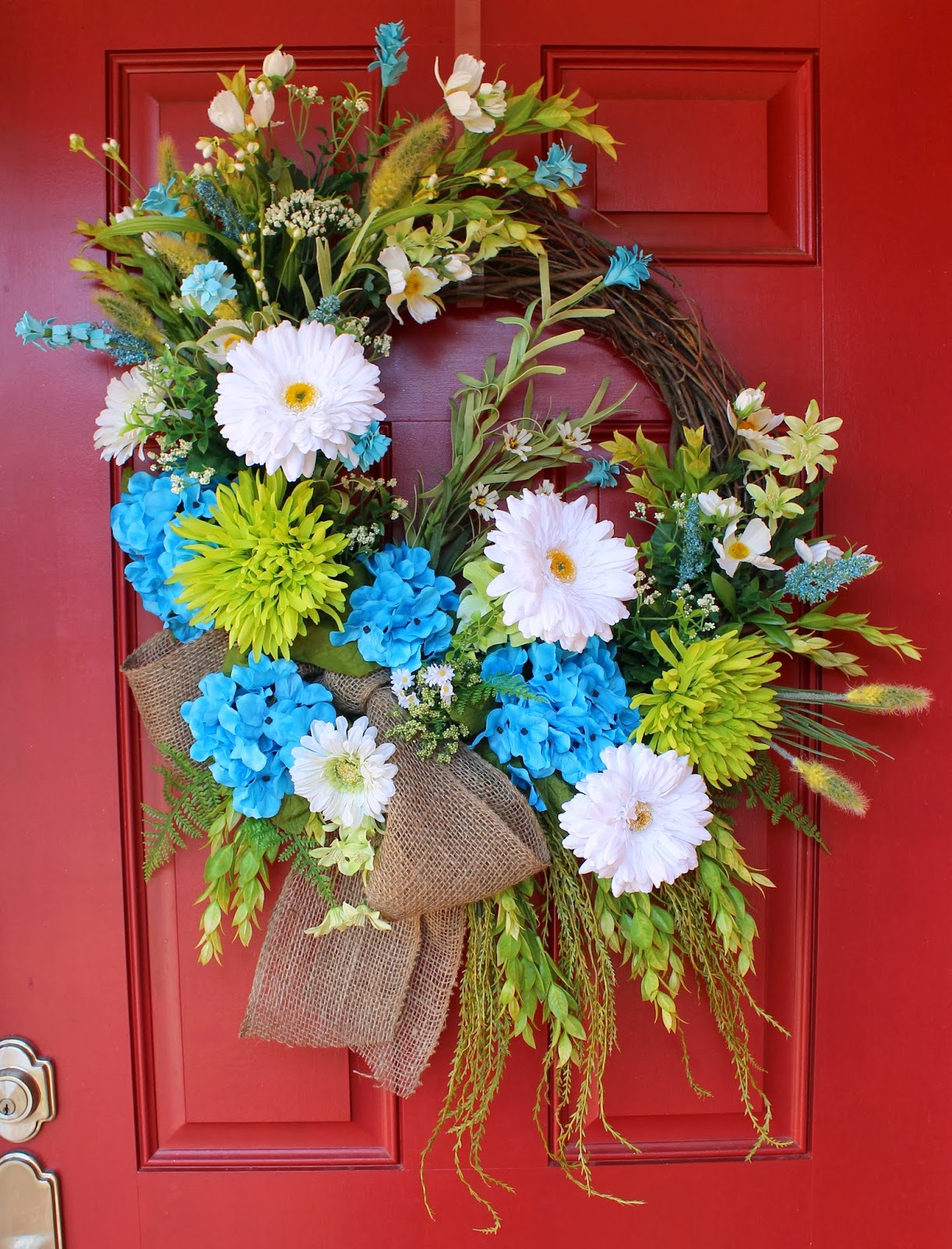 Cheerful and Bright Turquoise Lime Seaside Coastal Wreath