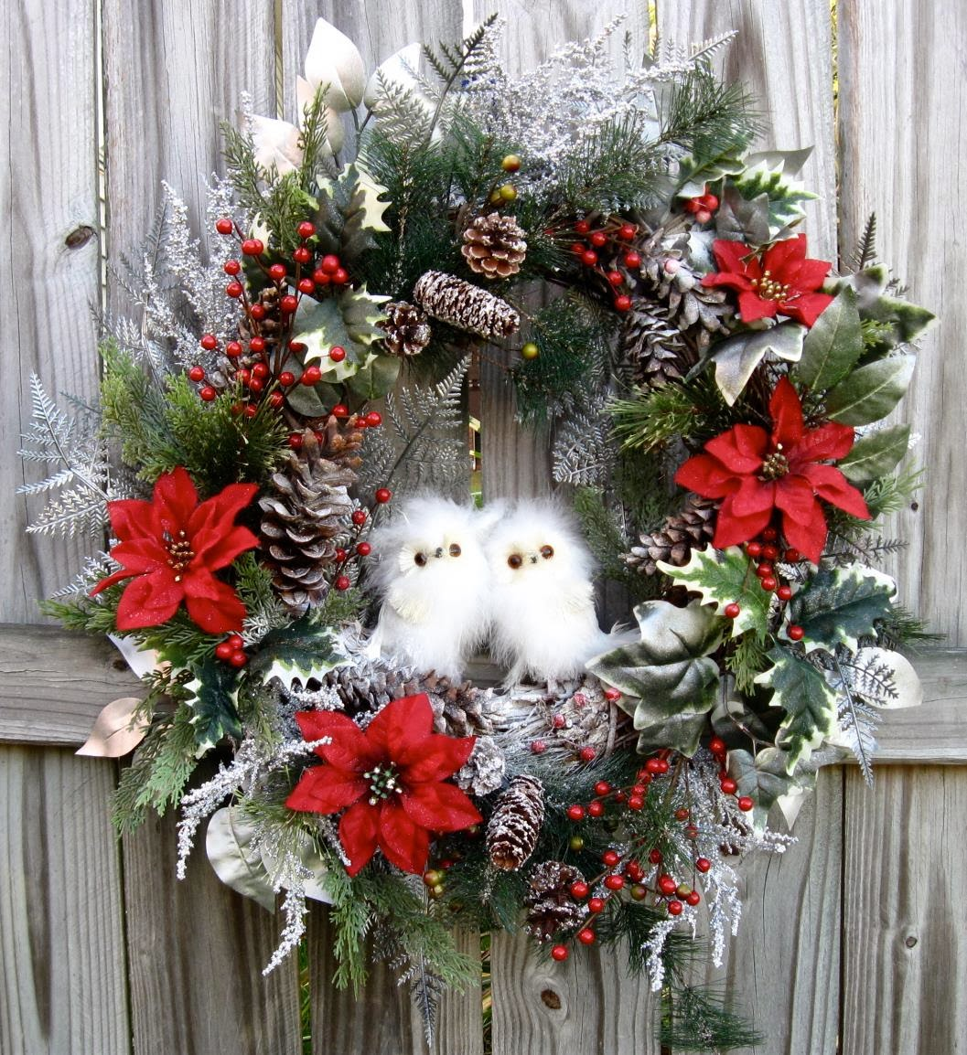 Woodland Winter Baby Snow Owls Christmas Pre-lit Wreath