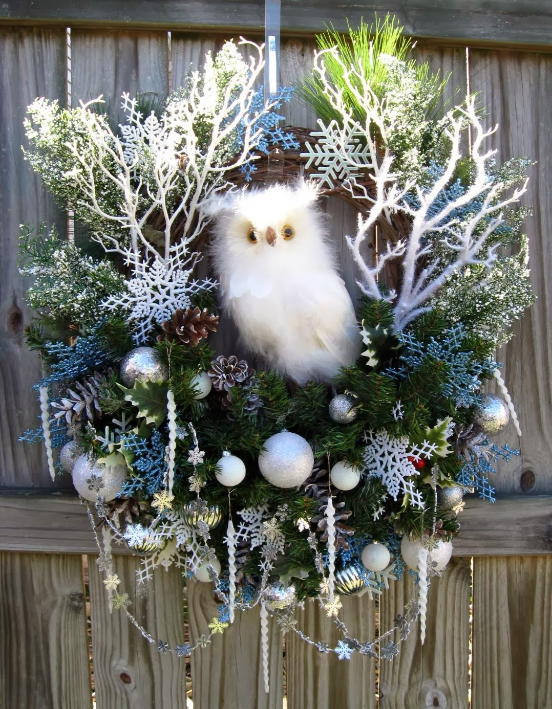 Snow Owl in the Winter Woods White and Silver Christmas Wreath