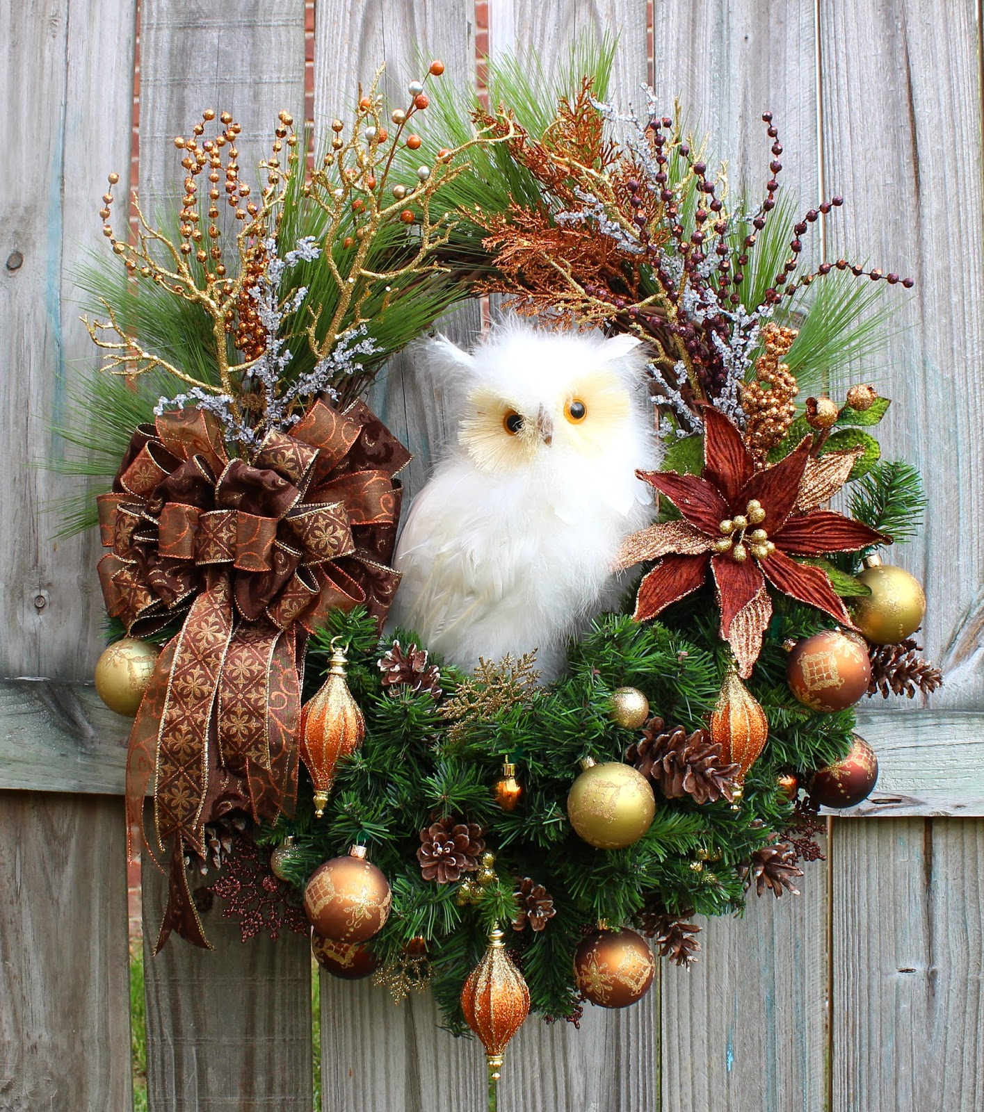 Huge Brown Copper and Gold Winter Owl Christmas Wreath