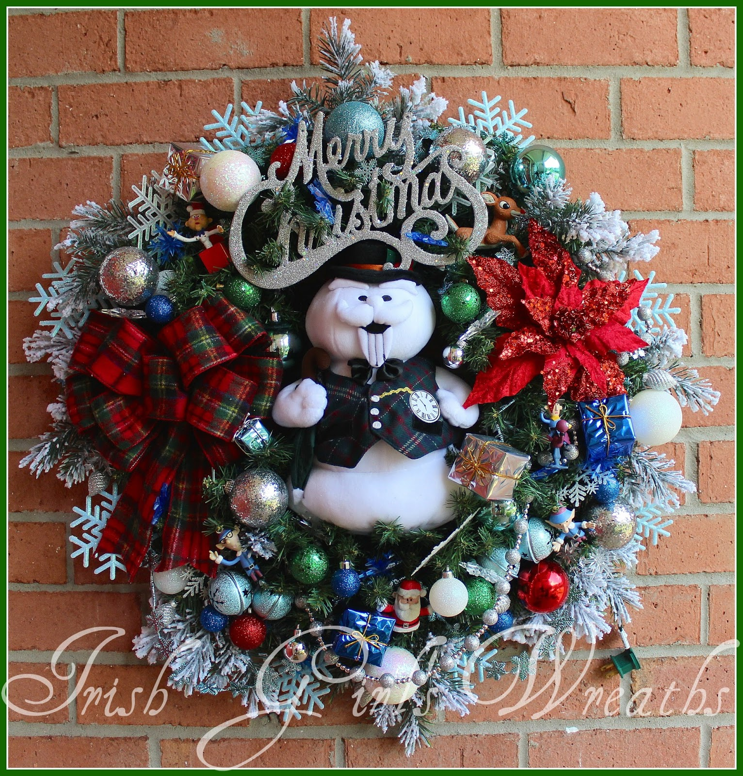 SAM the Snowman Christmas Wreath, Rudolph, Santa, Misfit Toys, blue and white snowflake lights, sleigh bells