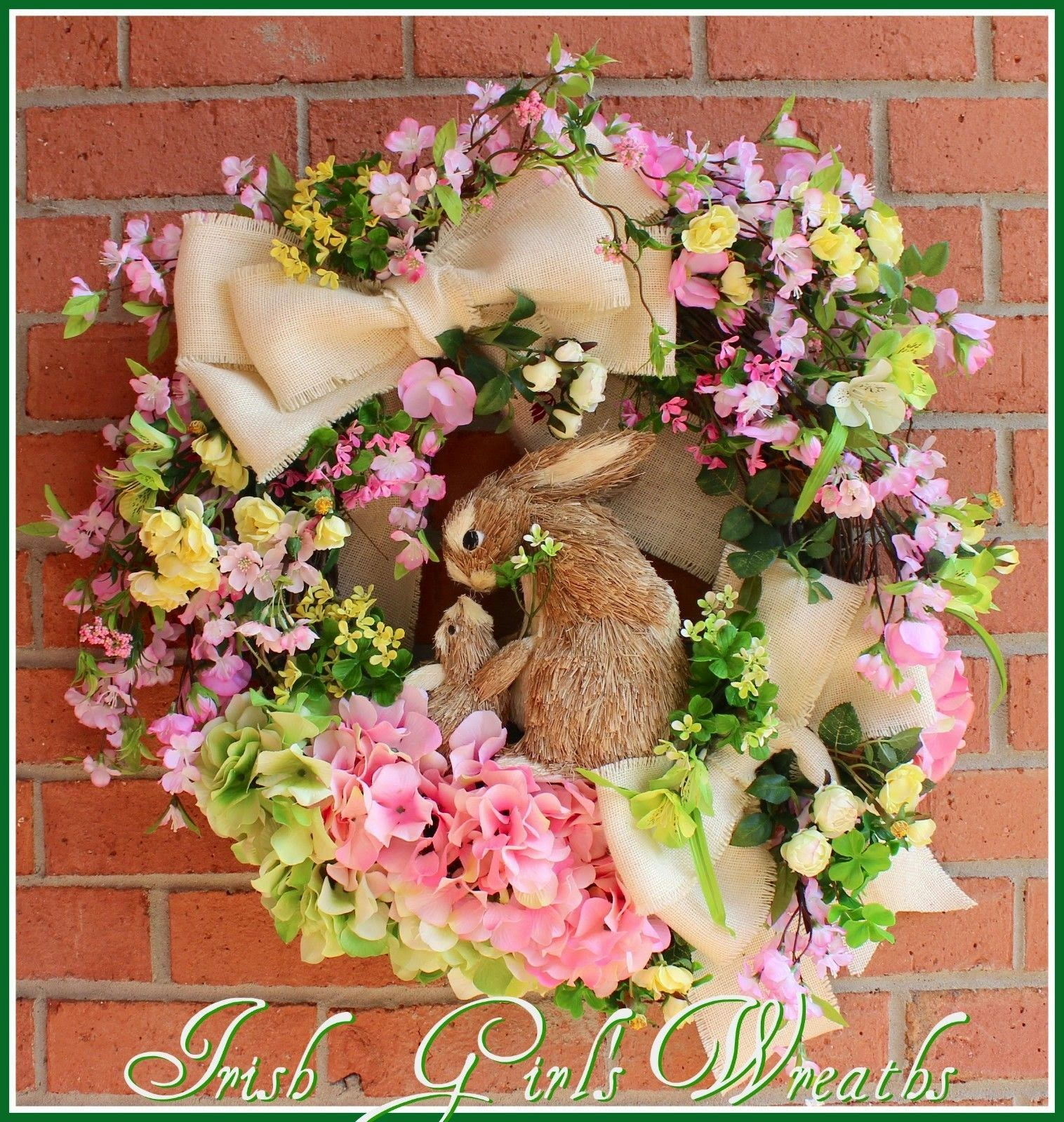 Cherry Blossom and Wild Rose Bunny Rabbit Spring Wreath, mother & baby, Easter, pink green yellow, Mother's Day, cottage