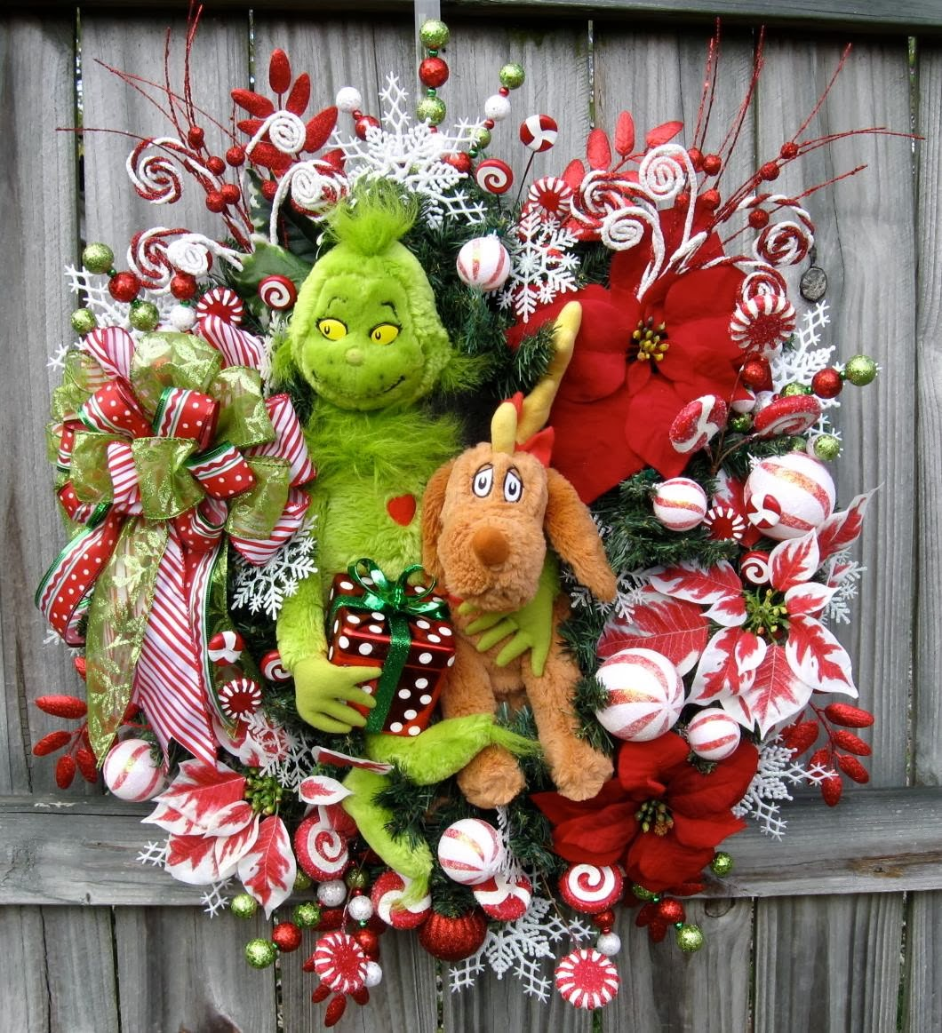 Grinch and his reindeer dog Max Christmas Wreath