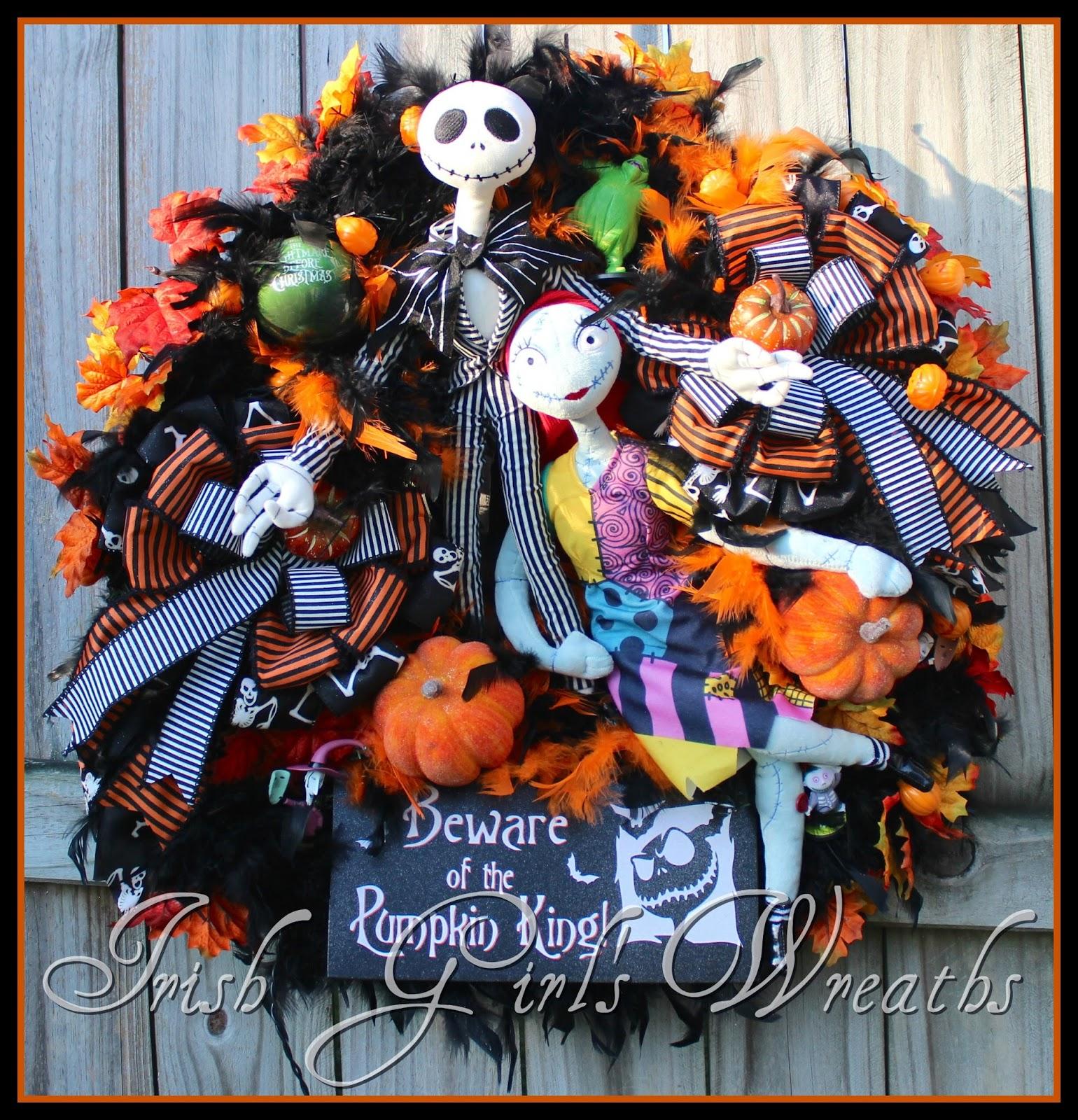 I AM the Pumpkin King large pre-lit Nightmare Halloween wreath, Jack & Sally Skellington,