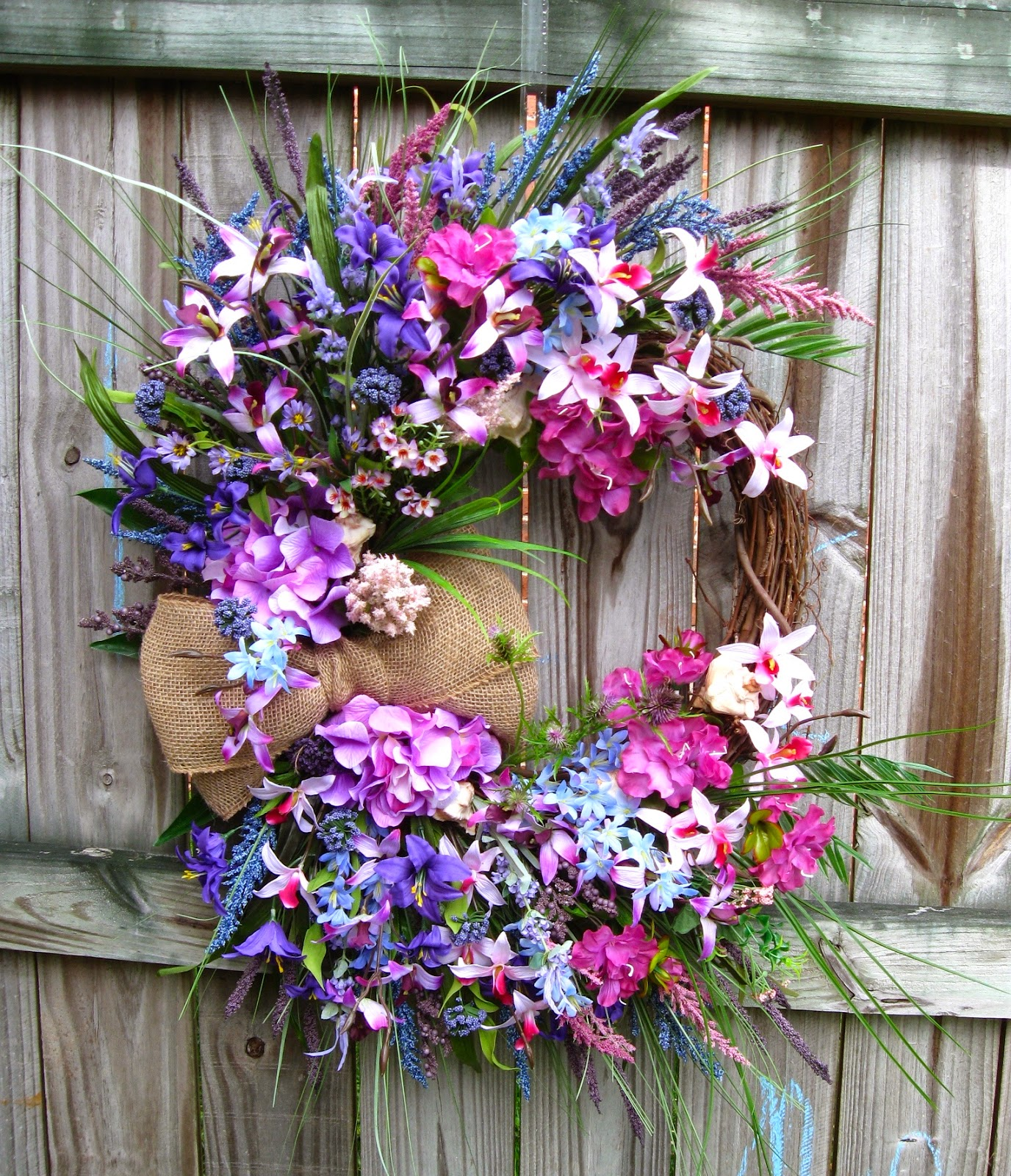 Purple Orchid Tropical Island Sunrise Coastal Wreath